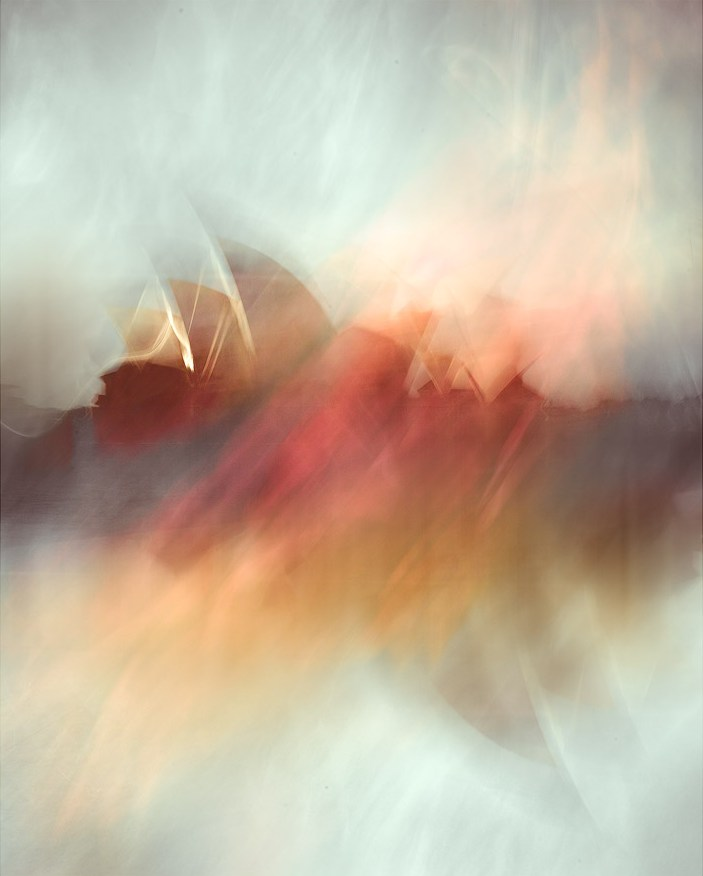 An ICM photo of the Sydney Opera House. Another ICM image of poppies from the Botanic Gardens has been used as a second exposure layered over the first.
