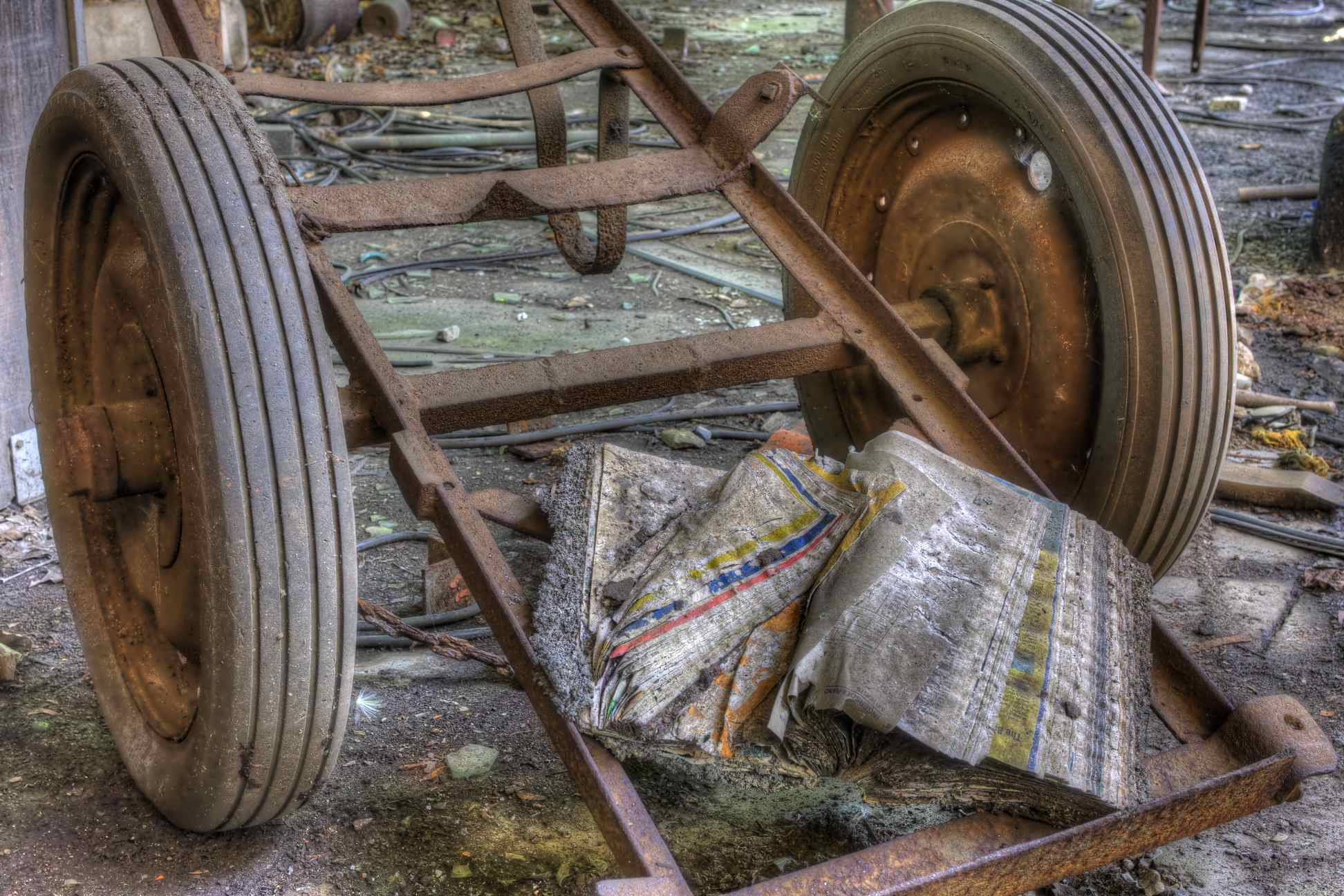 Fort Pitt Foundry: Dilapidated Phone Book and Cart