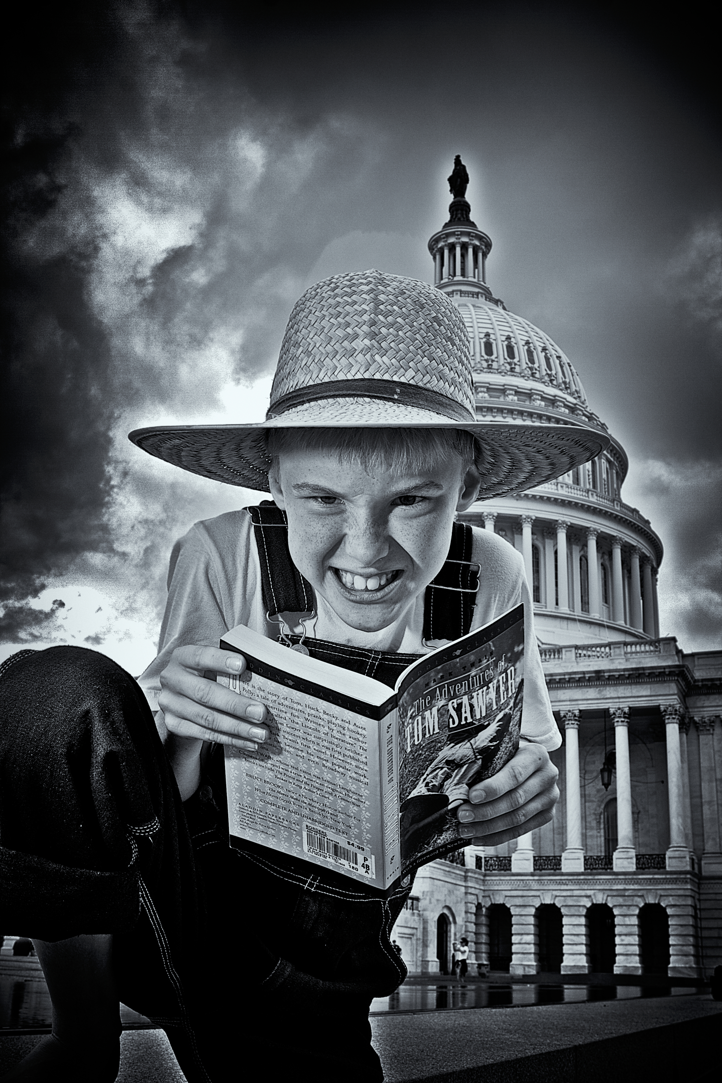 Tom and Huck: Tom Reading at the Capitol