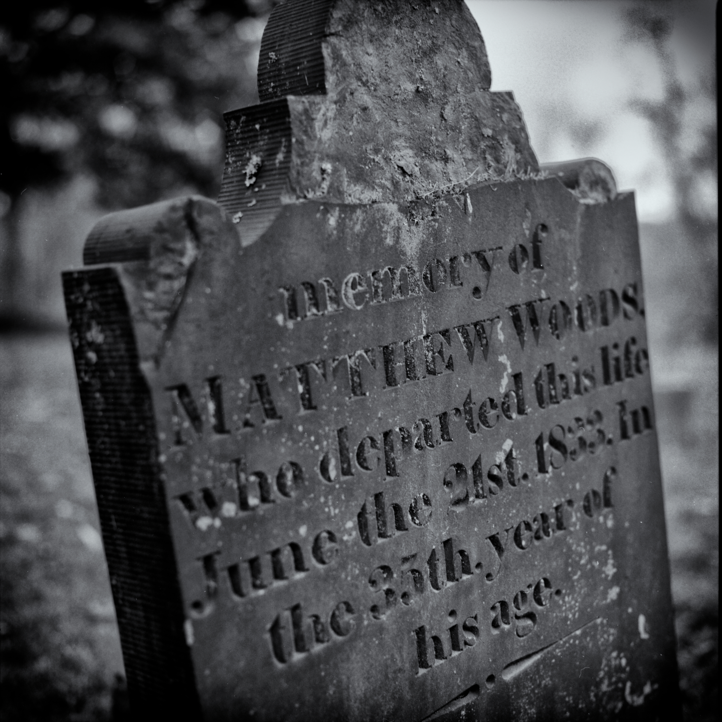Dravo Cemetery: Matthew Woods Headstone - 1833