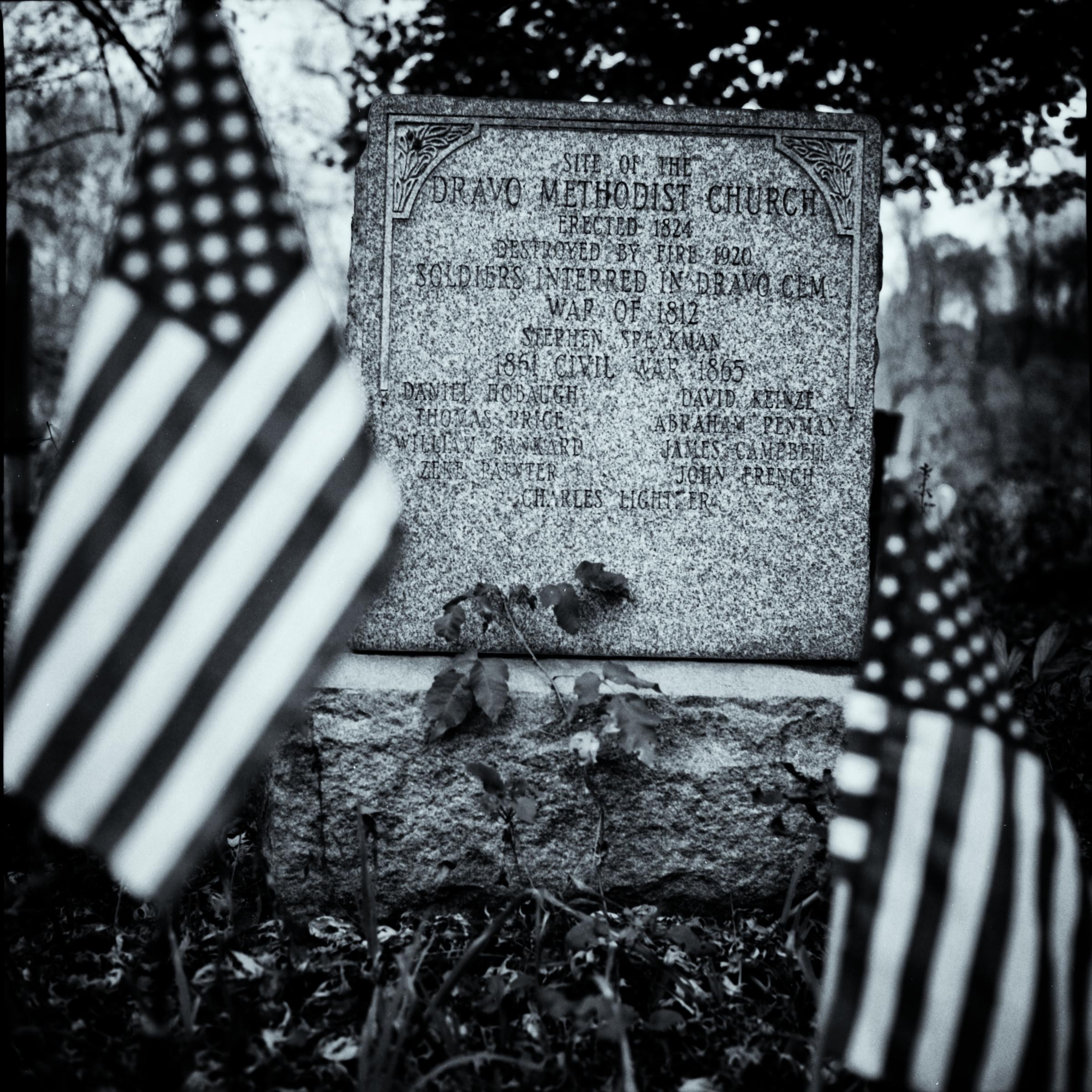 Dravo Cemetery: Dravo Methodist Church - Erected 1824