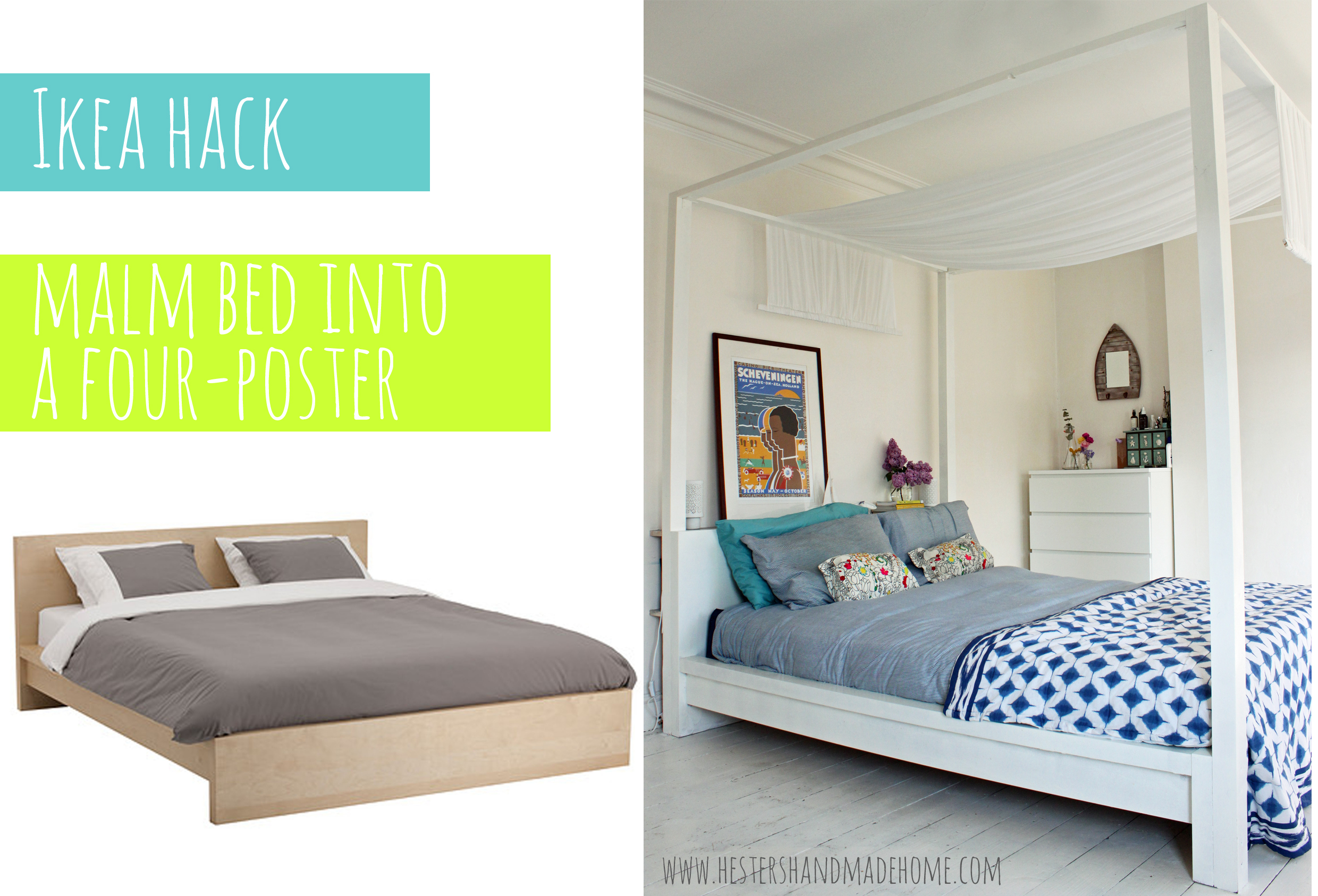 Ikea Hack Malm Bed Into A Four Poster Hester S Handmade Home