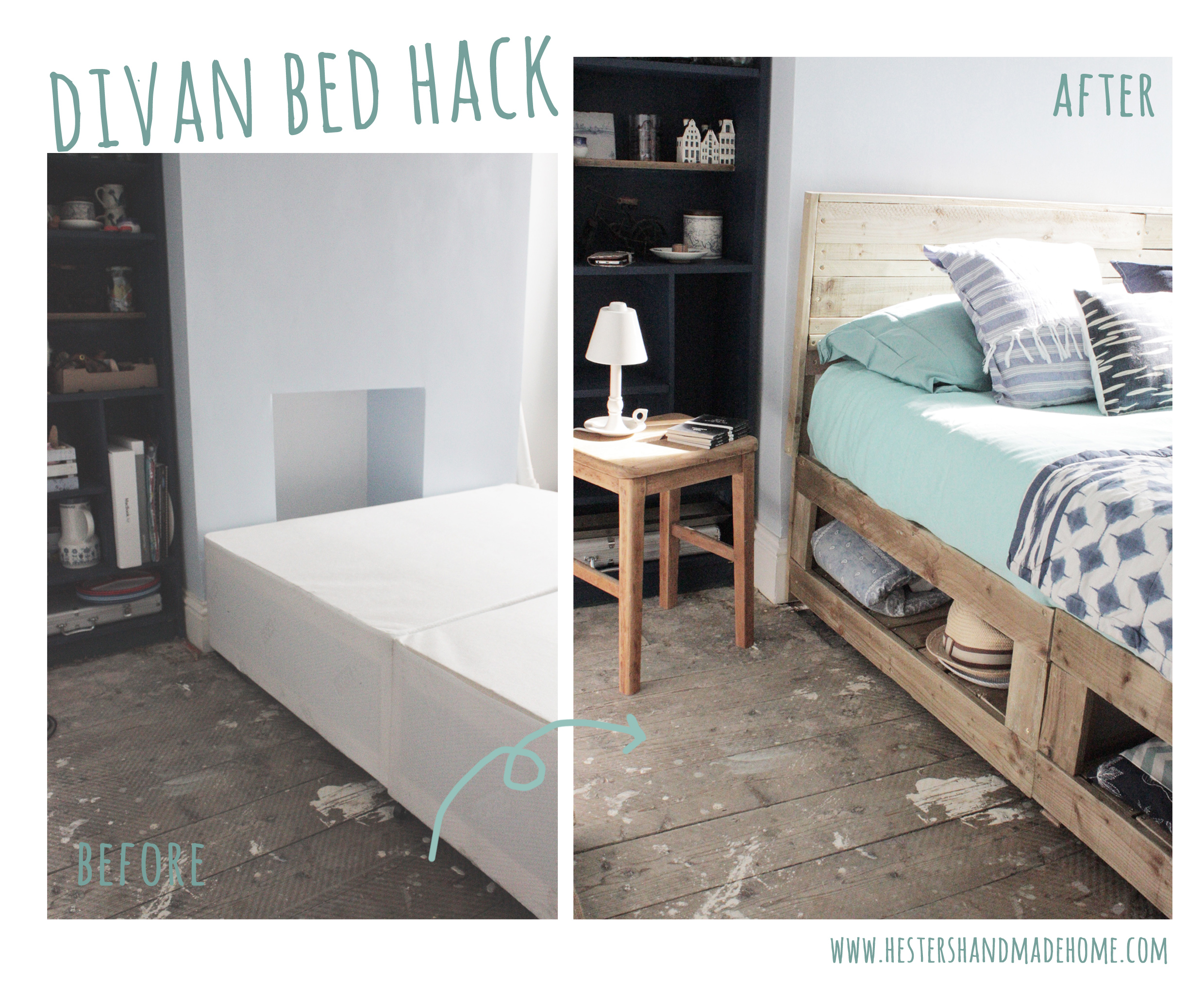 divan bed hack into a rustic bed with lots of storage by hestershandmadehome