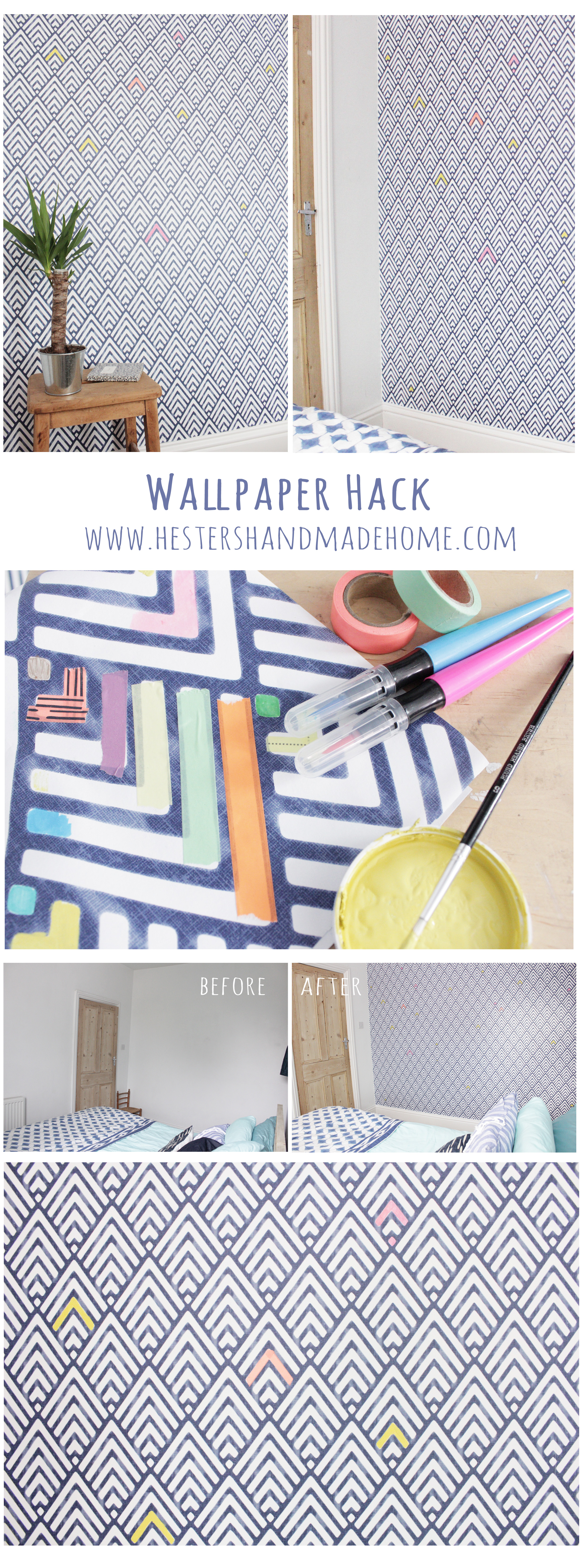 wallpaper hack, customize your wallpaper with Hester's Handmade Home