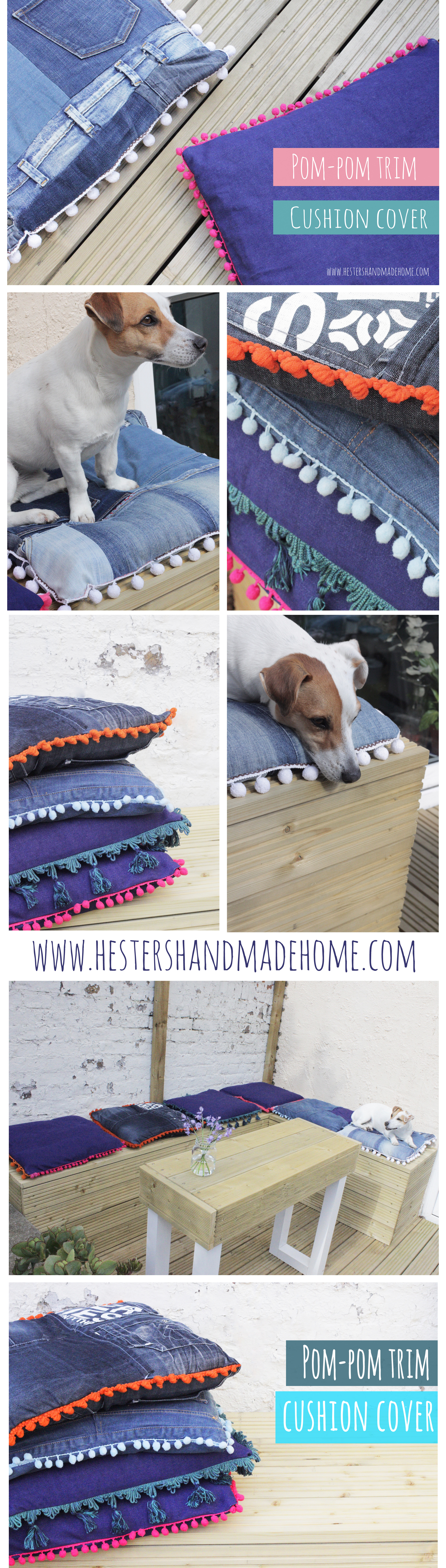 Pompom trim cushion covers, made from denim and old jeans. Tutorial by Hester's Handmade Home