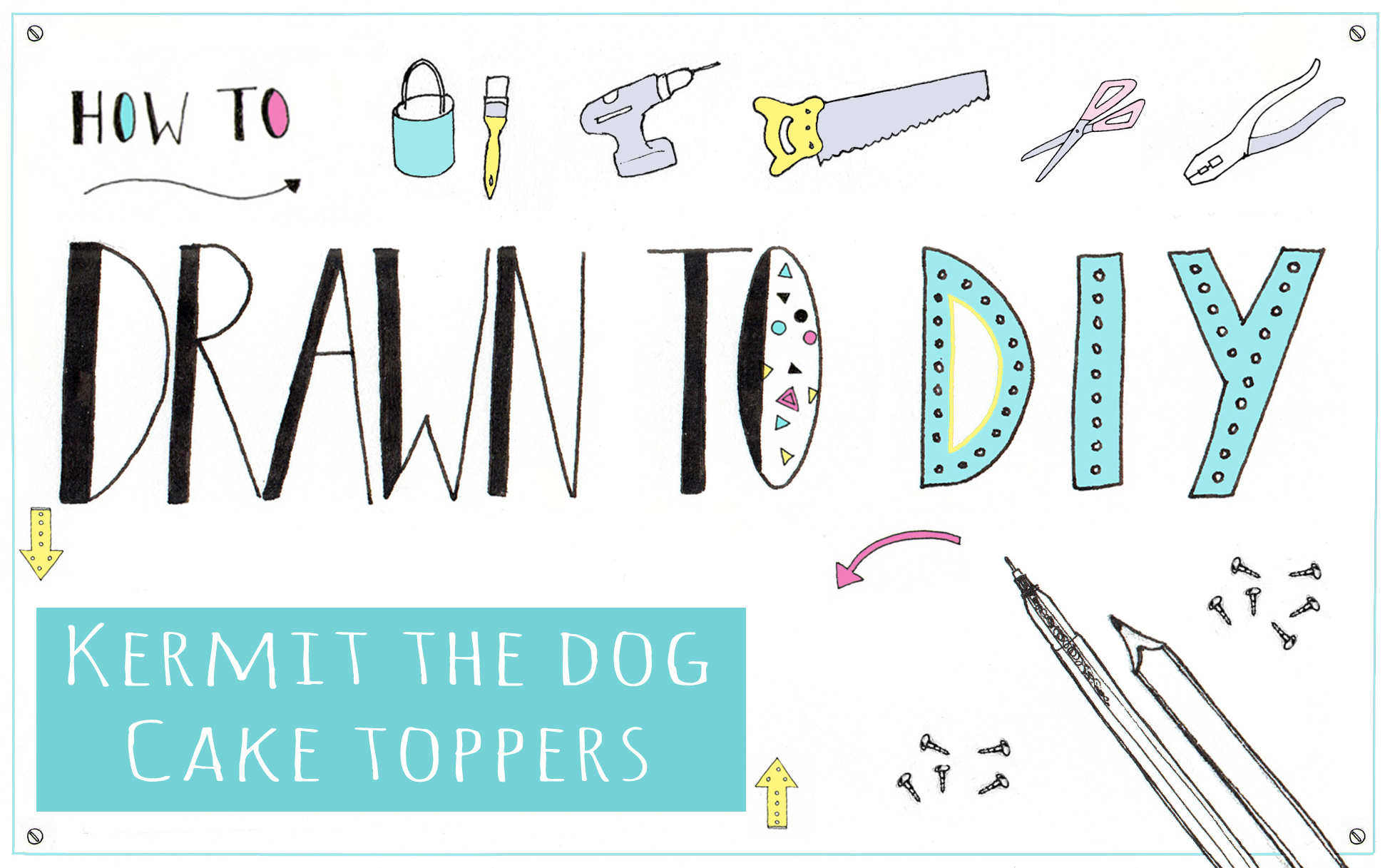 drawn to diy, kermit the dog cake toppers