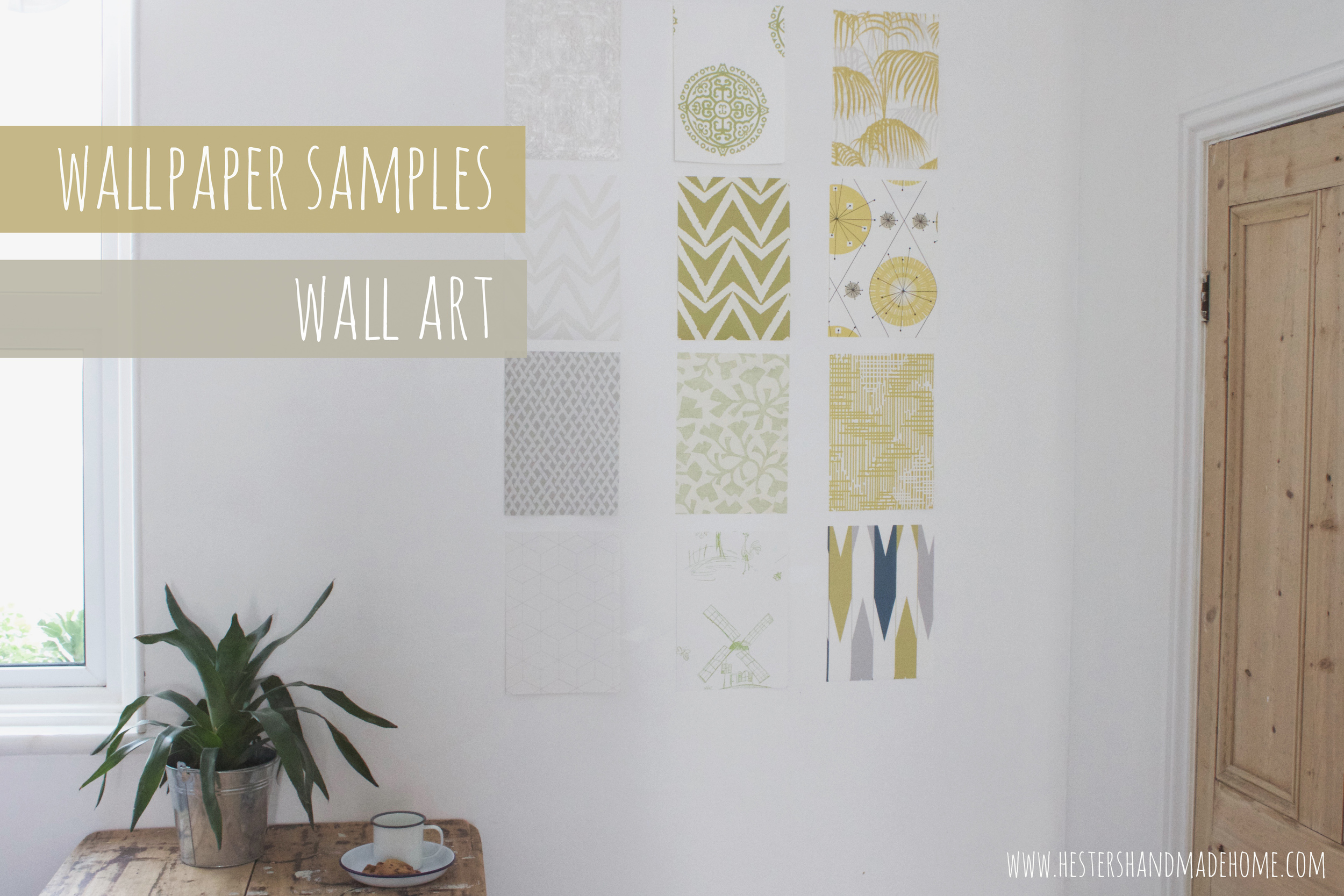 Wall art with wallpaper samples, super easy way to decorate your walls. Tutorial by Hester's Handmade Home