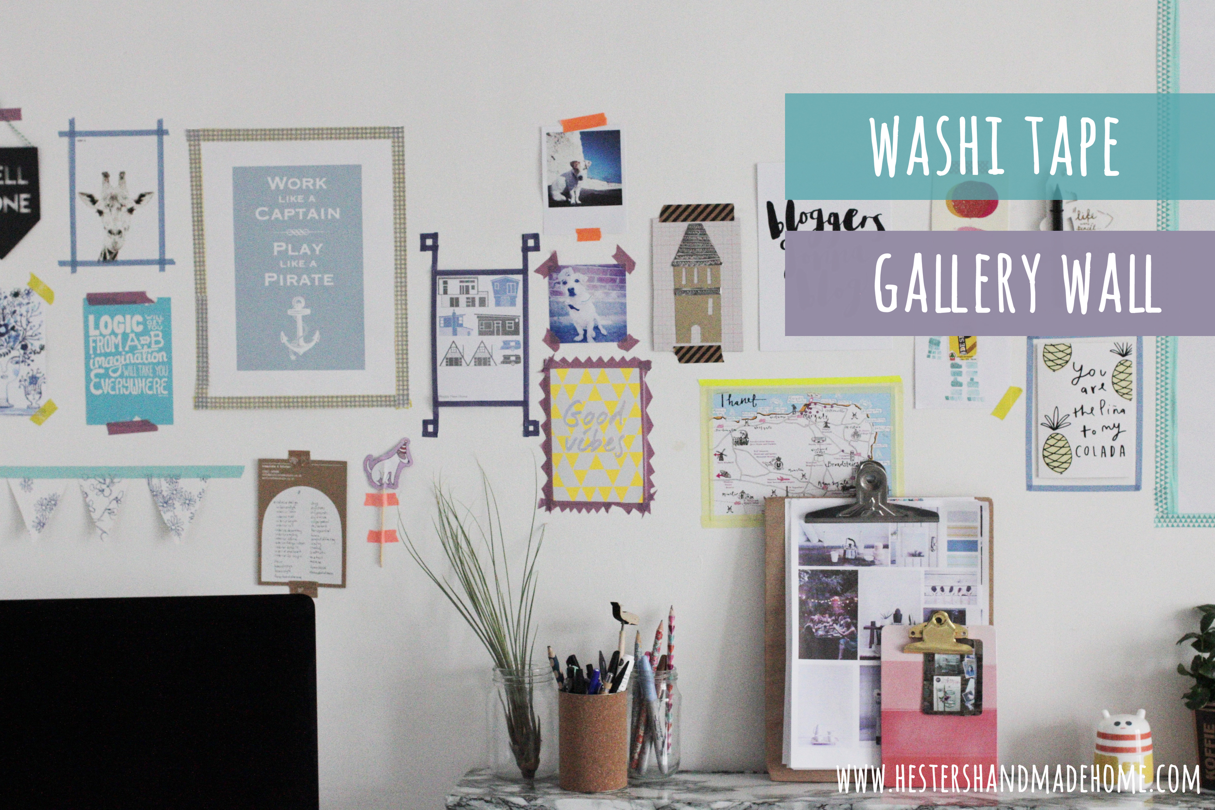 washi tape photo frames, great for a temporary gallery wall. Tutorial by Hesters Handmade Home