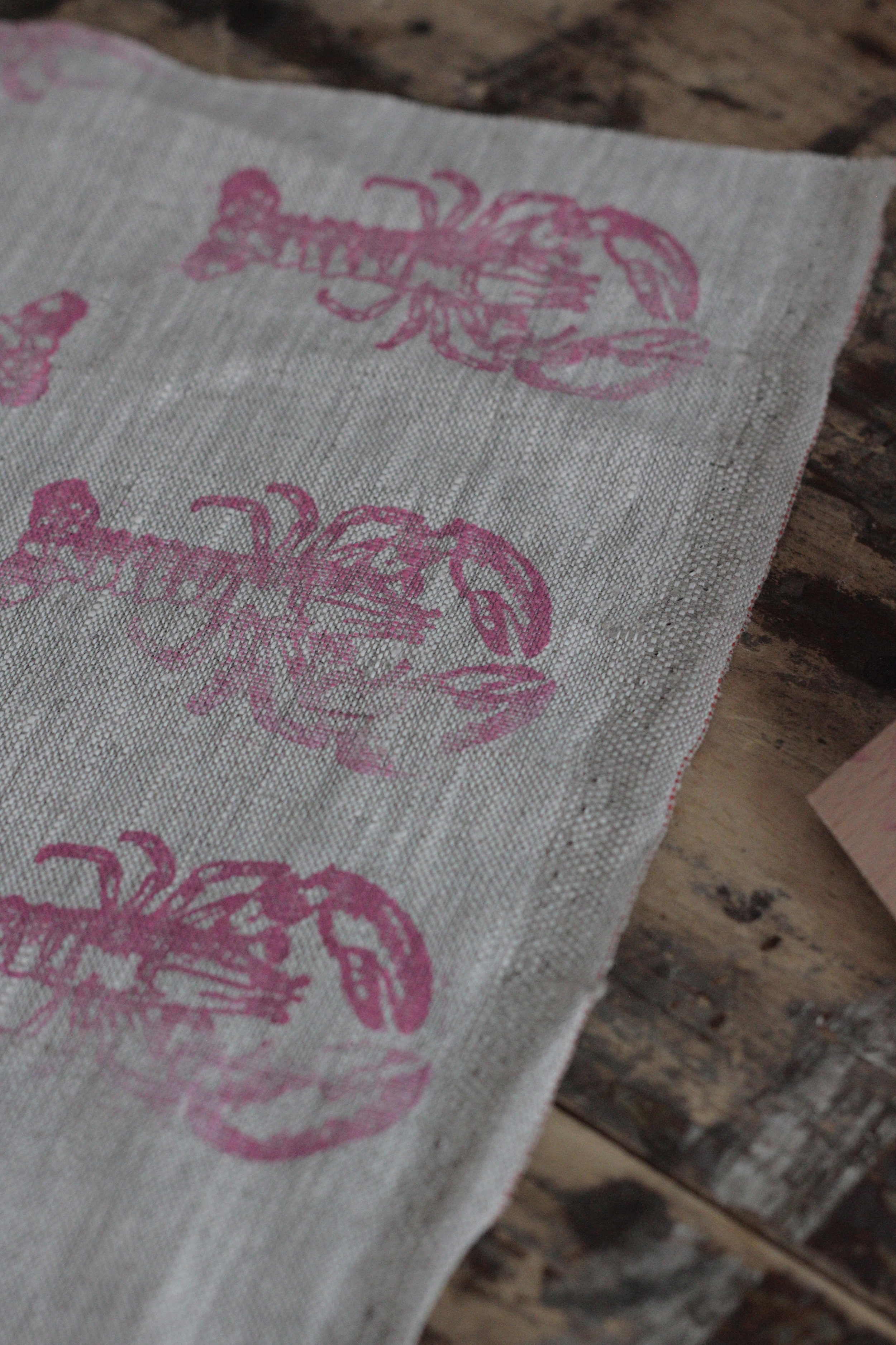 hand printed lobster fabric, tutorial by hester's handmade home