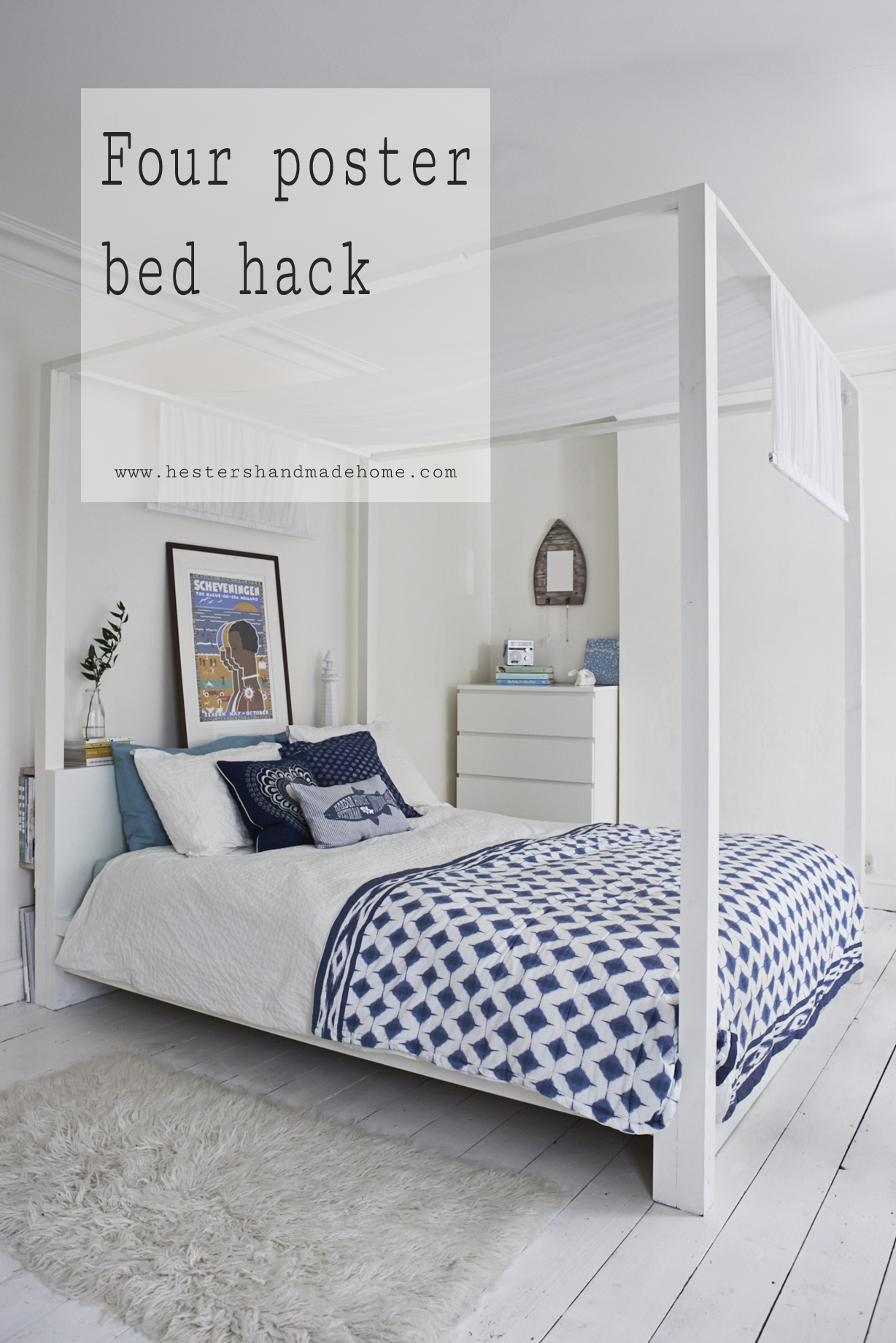 Ikea hack malm bed into a four poster, tutorial by Hester's handmade home