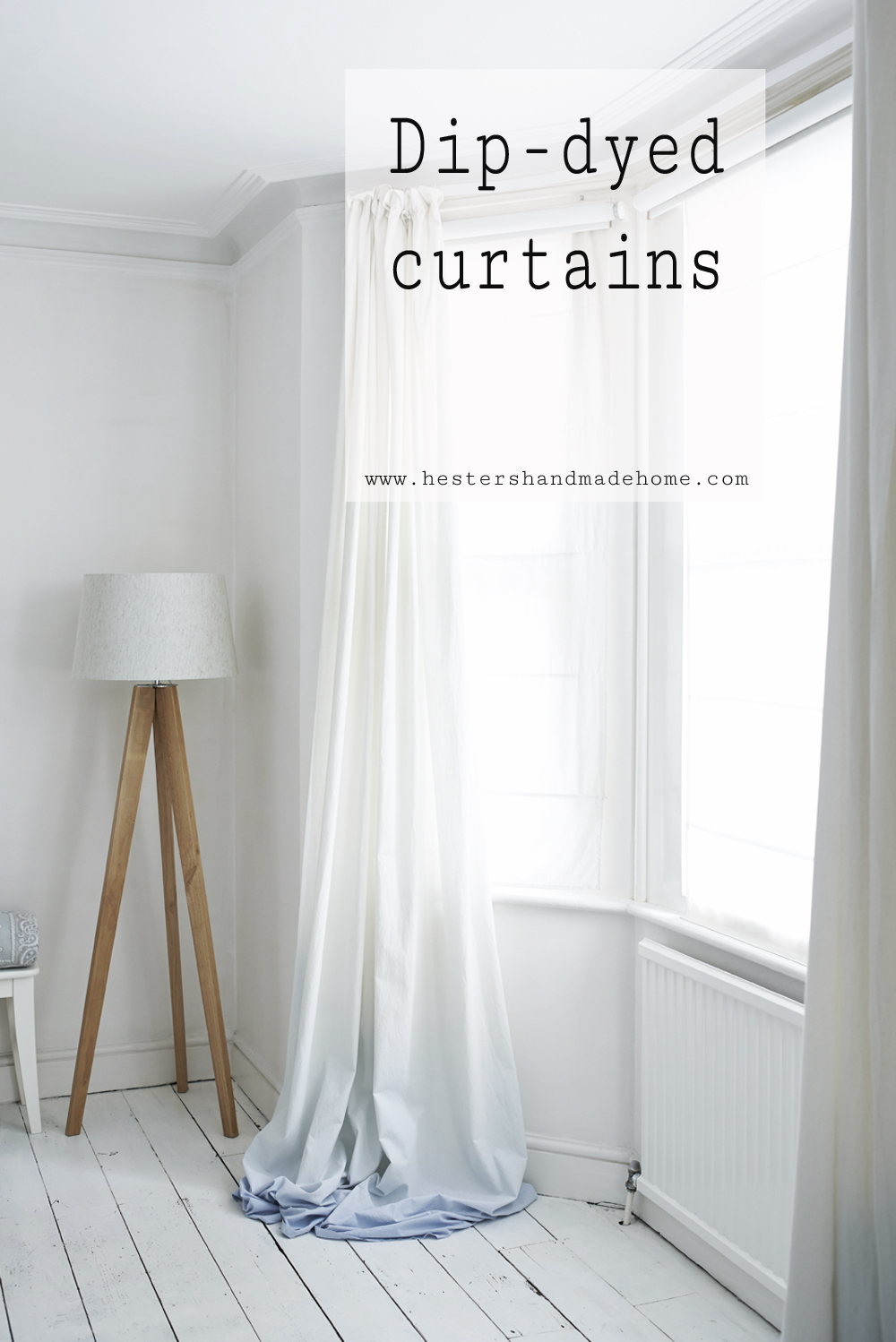 Dip dyed curtain, projects from the Furniture Hacks book by Hester van Overbeek