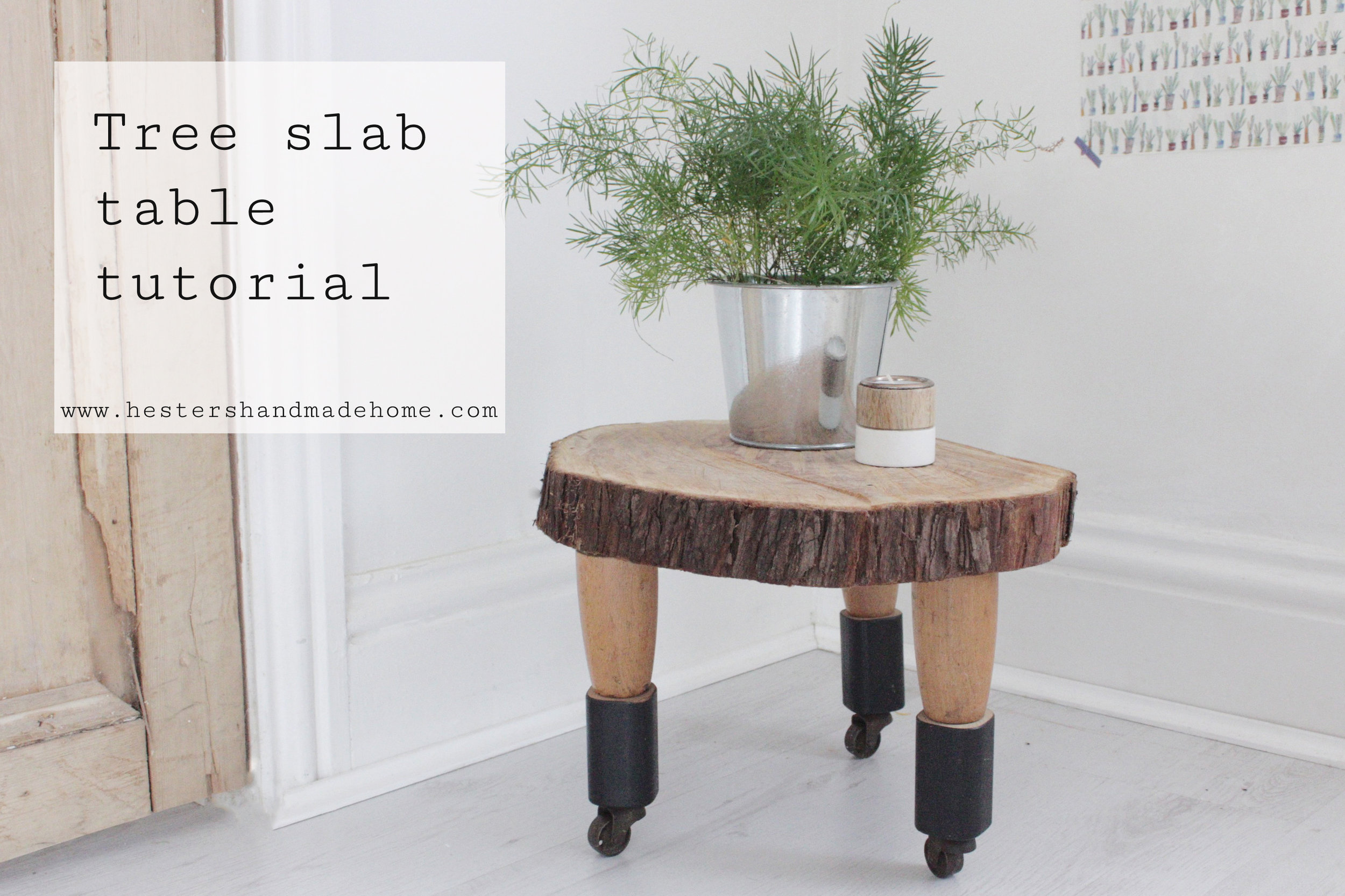 Turn a tree slab into a table, tutorial by Hester's handmade Home