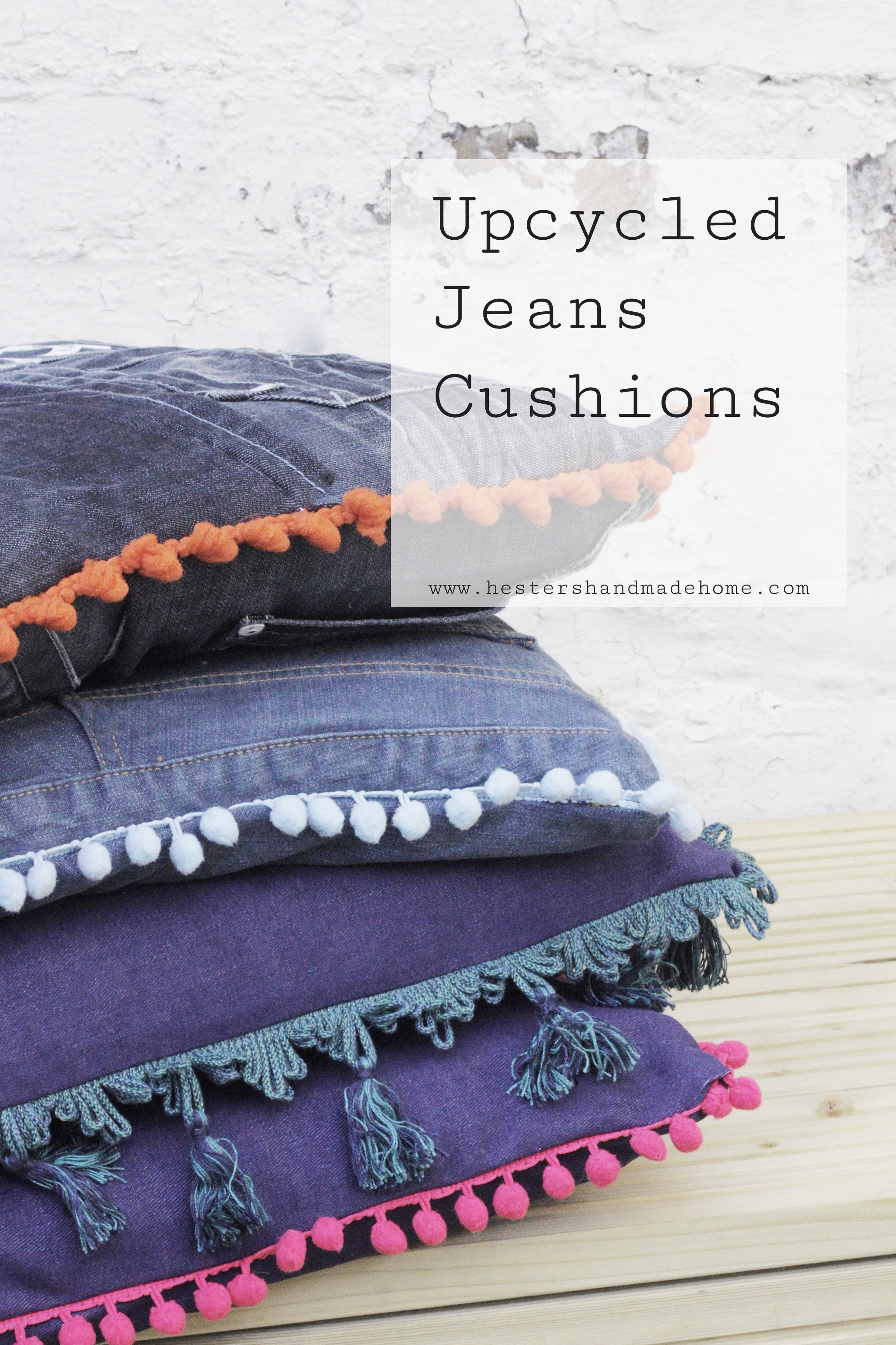 Upcycle your jeans into cushions, tutorial by hester's handmade home
