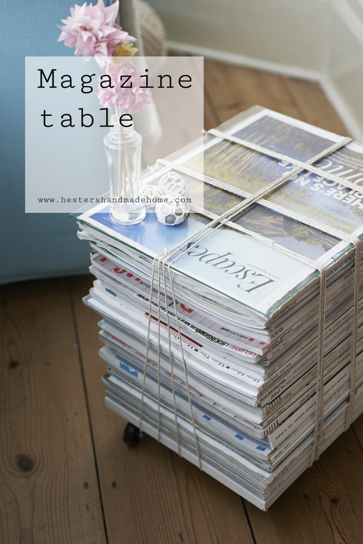 Magazine table, project from the Furniture Hacks book by Hester's Handmade Home