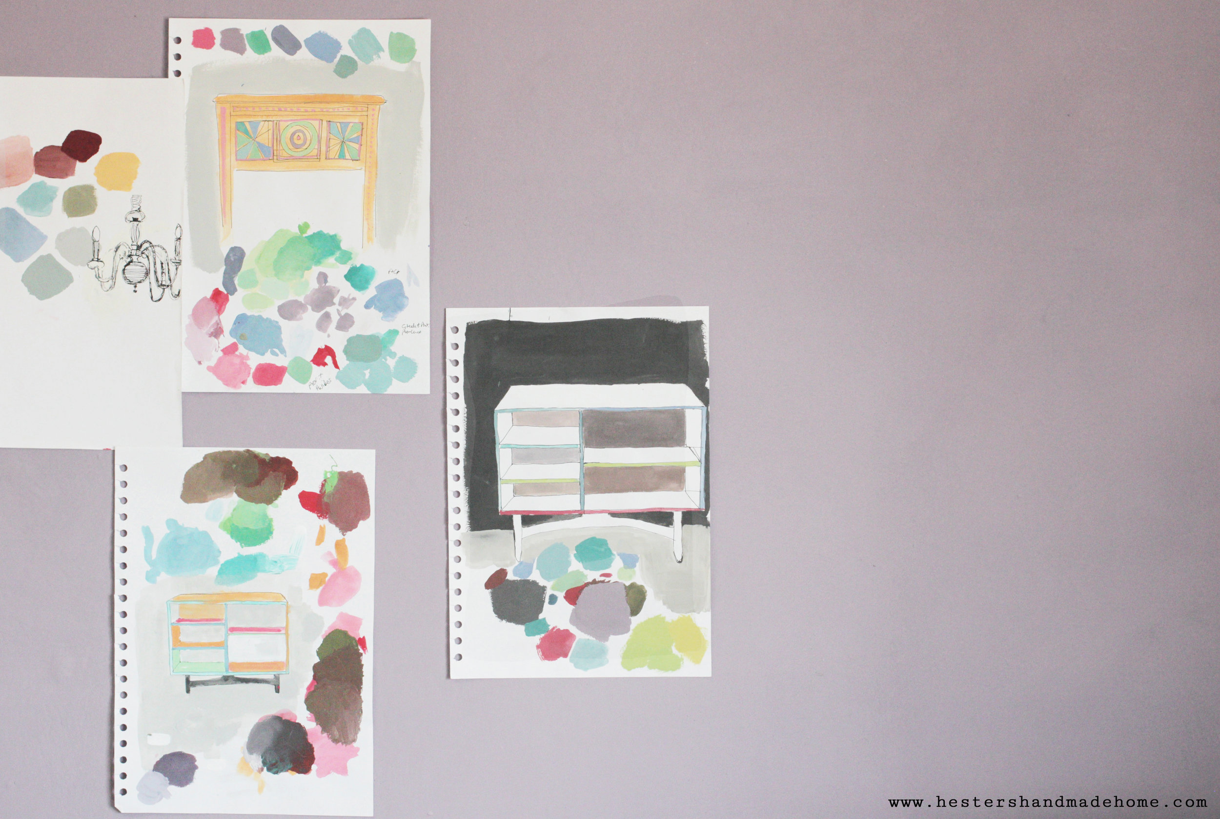 Sketches in the Annie Sloan studio, photo by www.hestershandmadehome.com