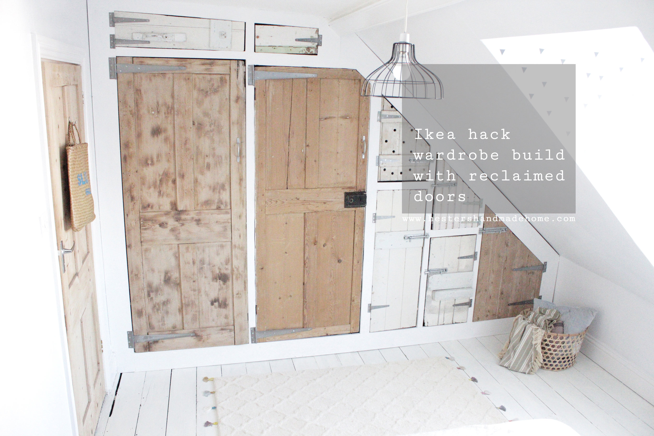 Build your wardrobe using an Ikea base and reclaimed doors. Tutorial by www.hestershandmadehome.com