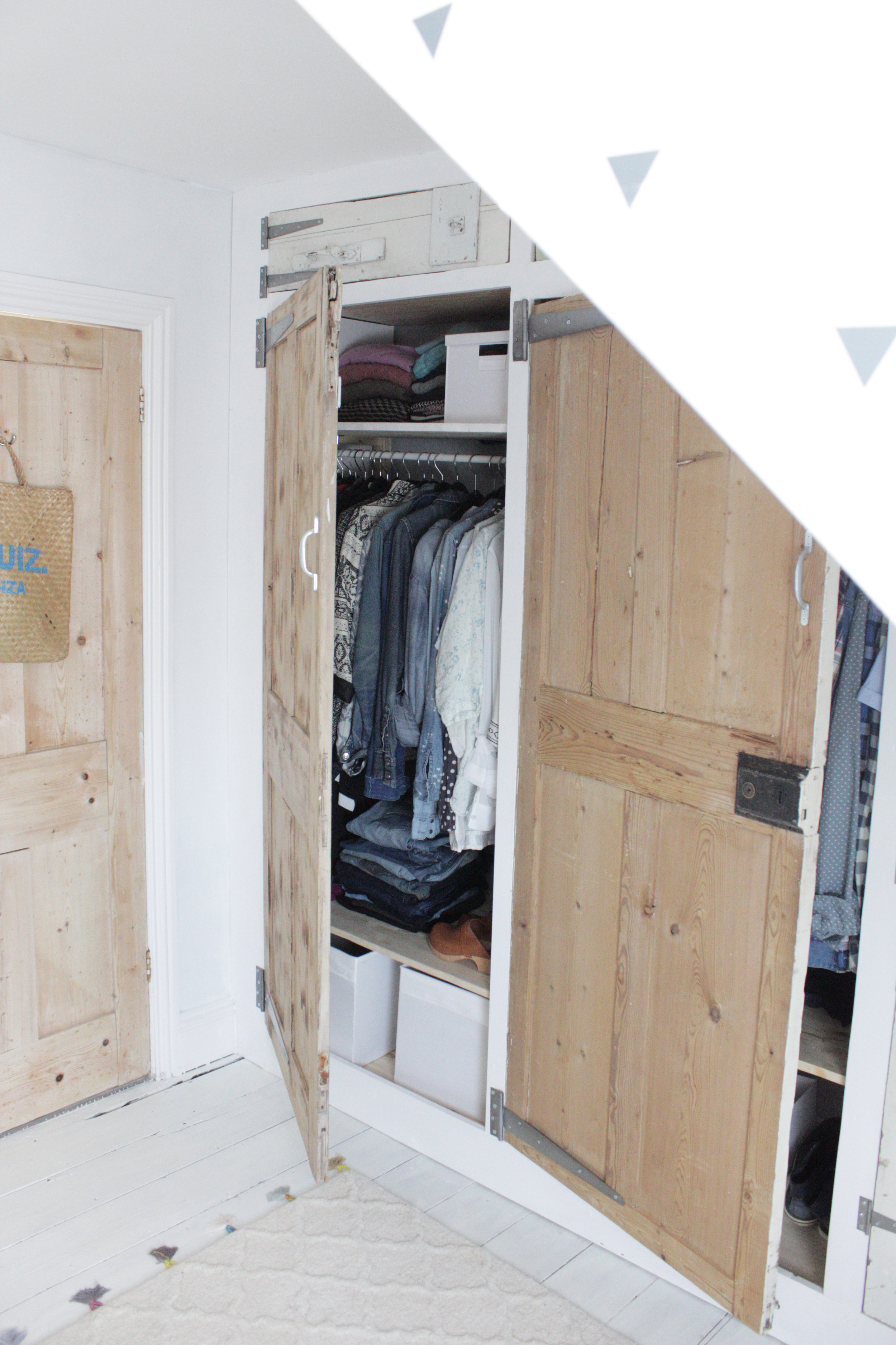 Build your own wardrobe using an Ikea Ivar base and reclaimed doors, tutorial by hester's Handmade Home