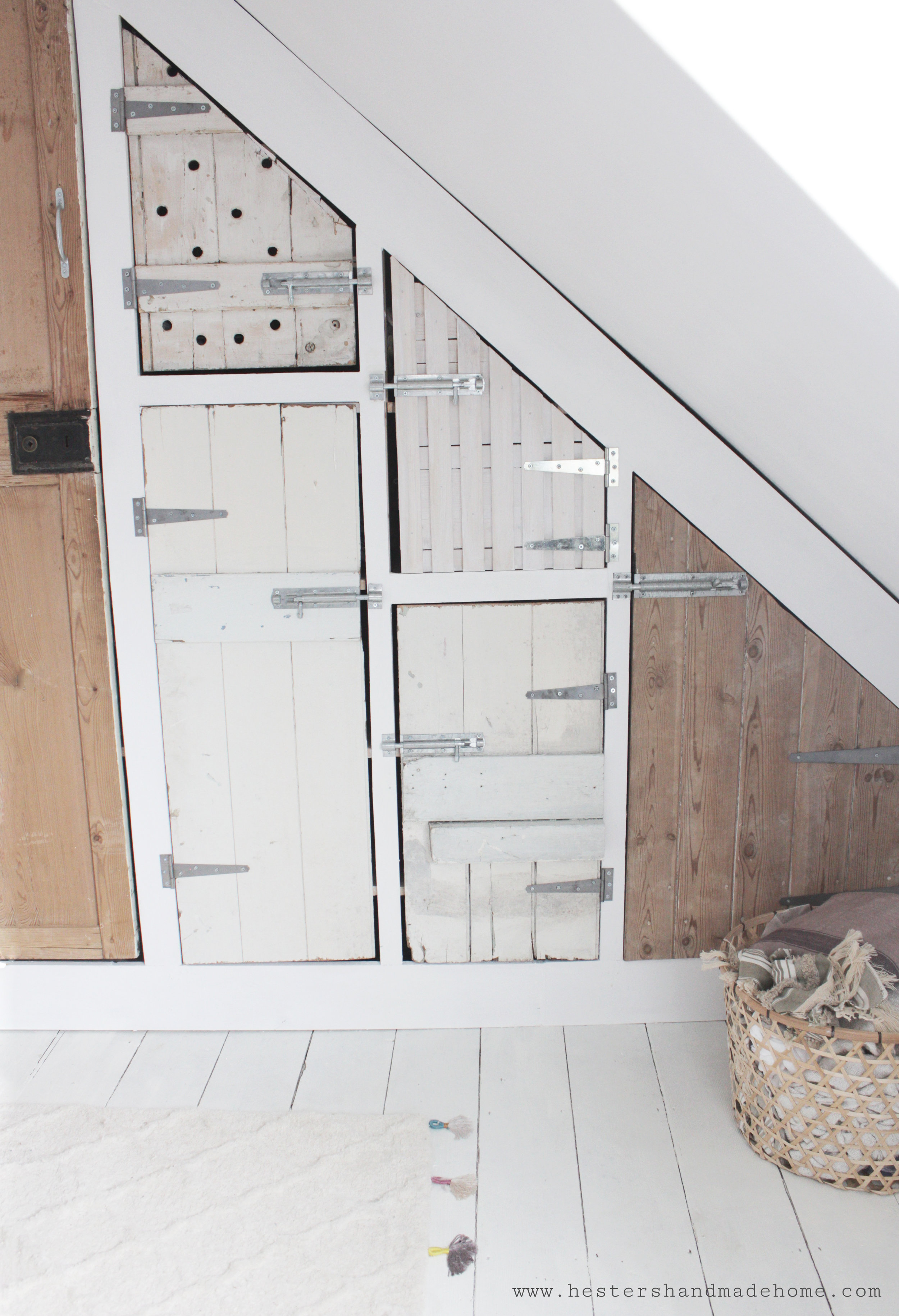 Use reclaimed doors in your build like hester from hester's handmade Home did in her big wardrobe build