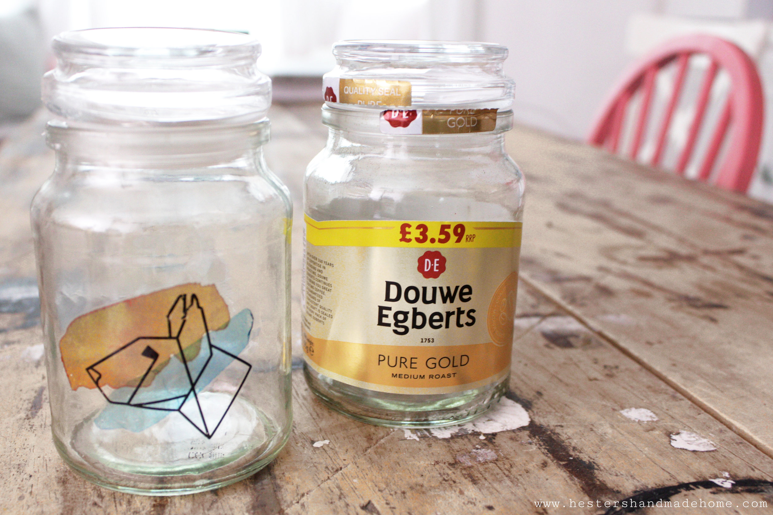 Decorate an empt Douwe Egberts jar with temporary tattoo's, tutorial by www.hestershandmadehome.com