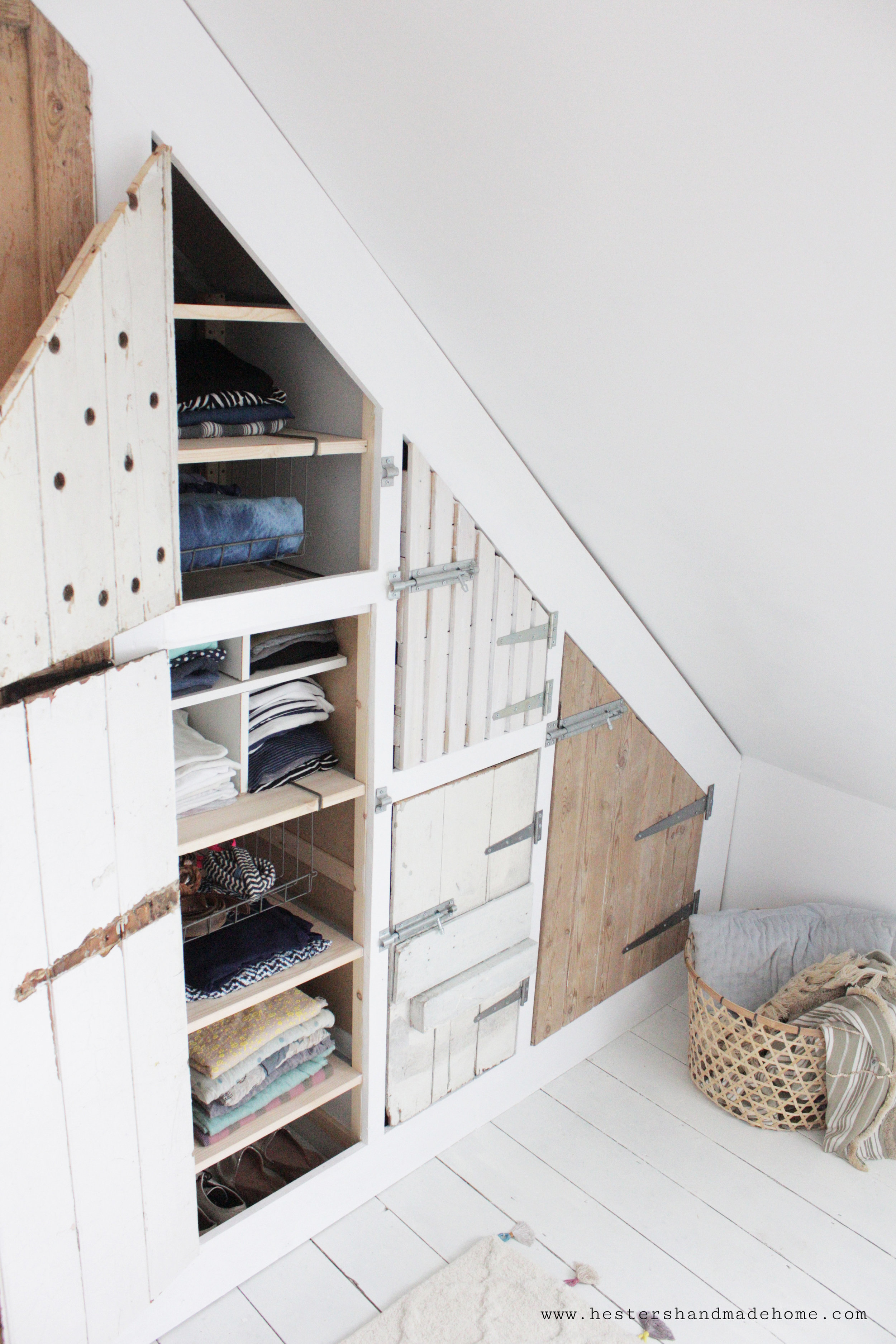 build in wardrobe with recaimed doors by www.hestershandmadehome.com