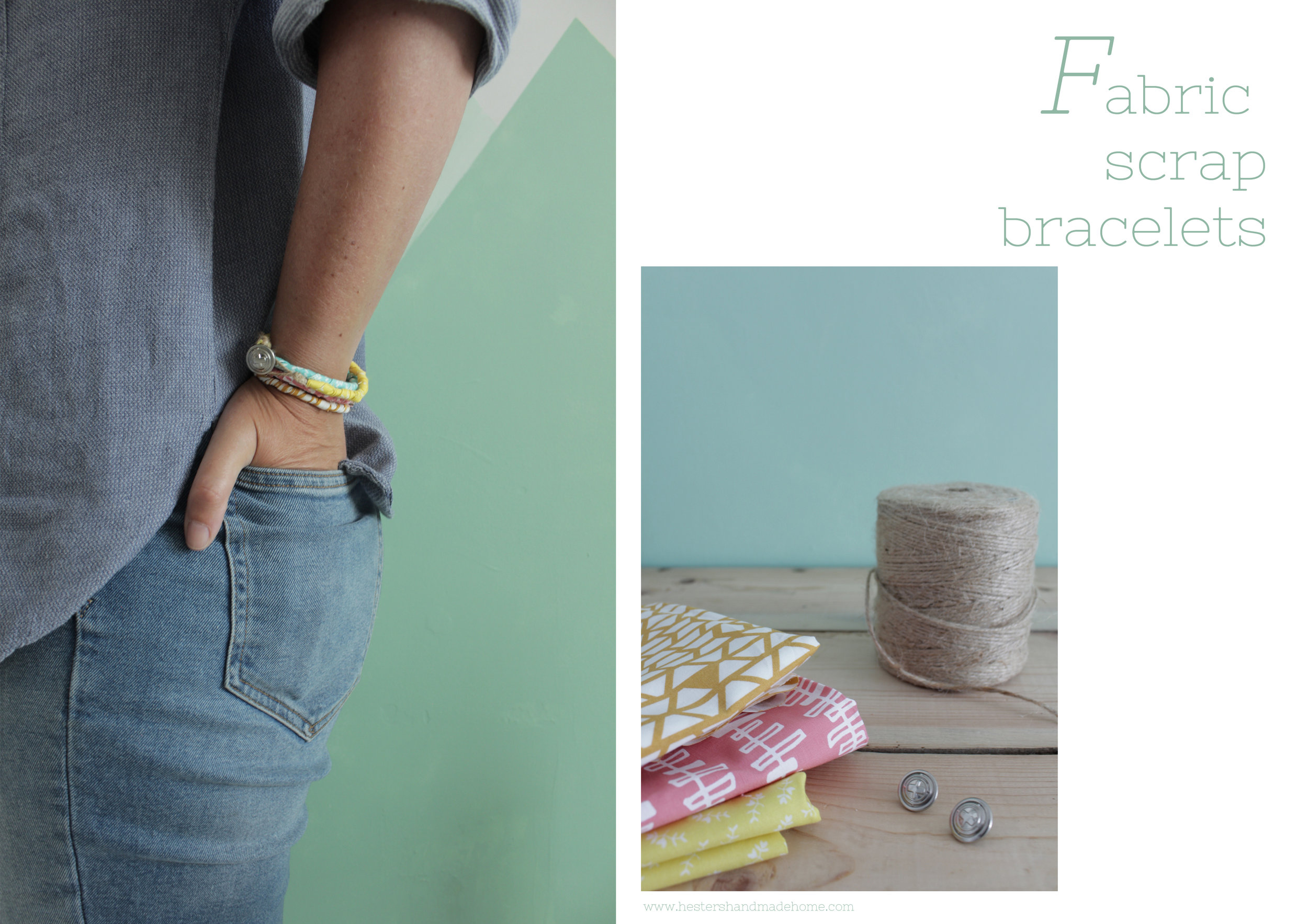 Make bracelets from fabric scraps by www.hestershandmadehome.com