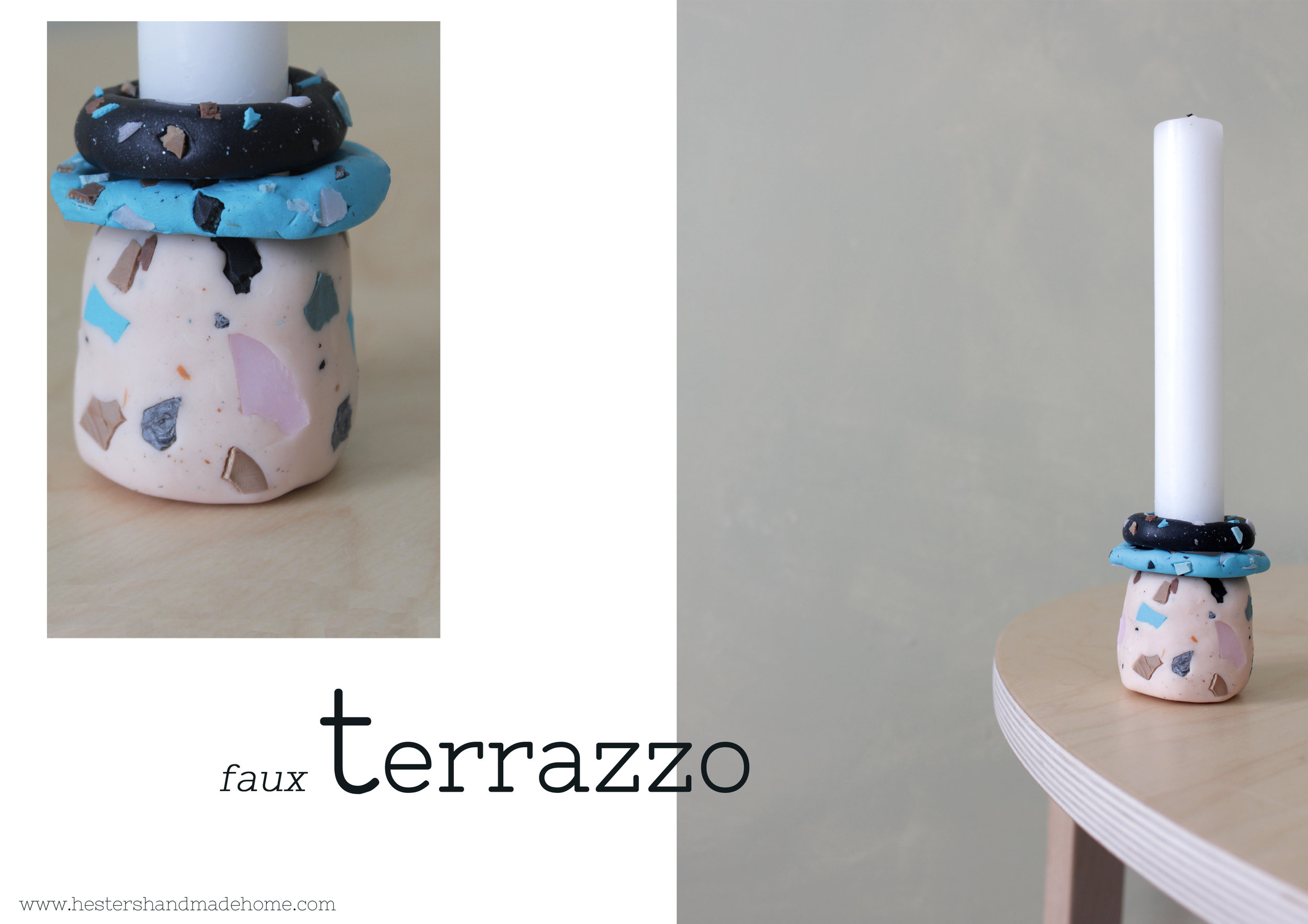 Faux terrazzo candle holder by www.hestershandamdehome.com