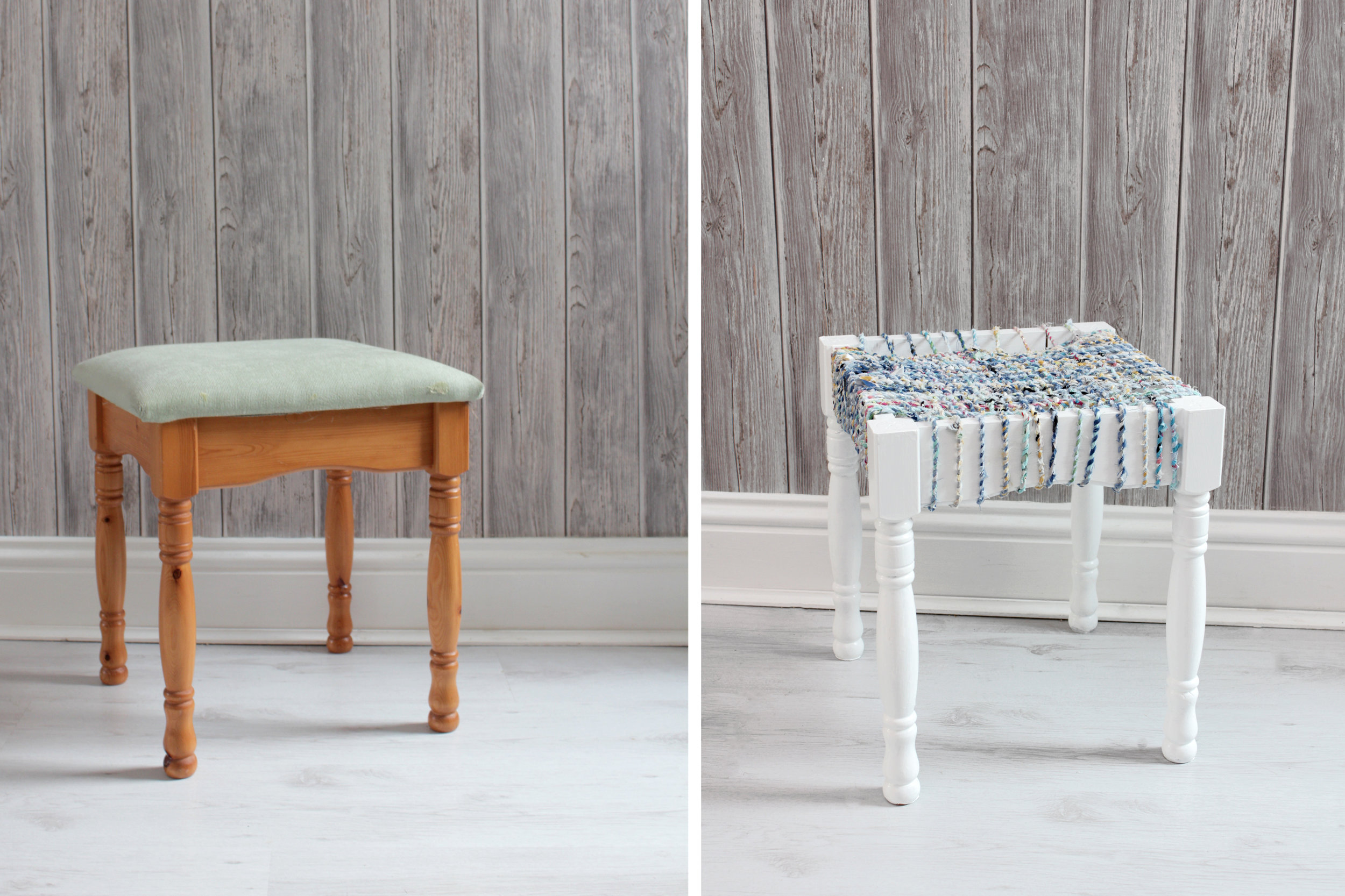 Upcycled stool for recycle week by www.hestershandmadehome.com