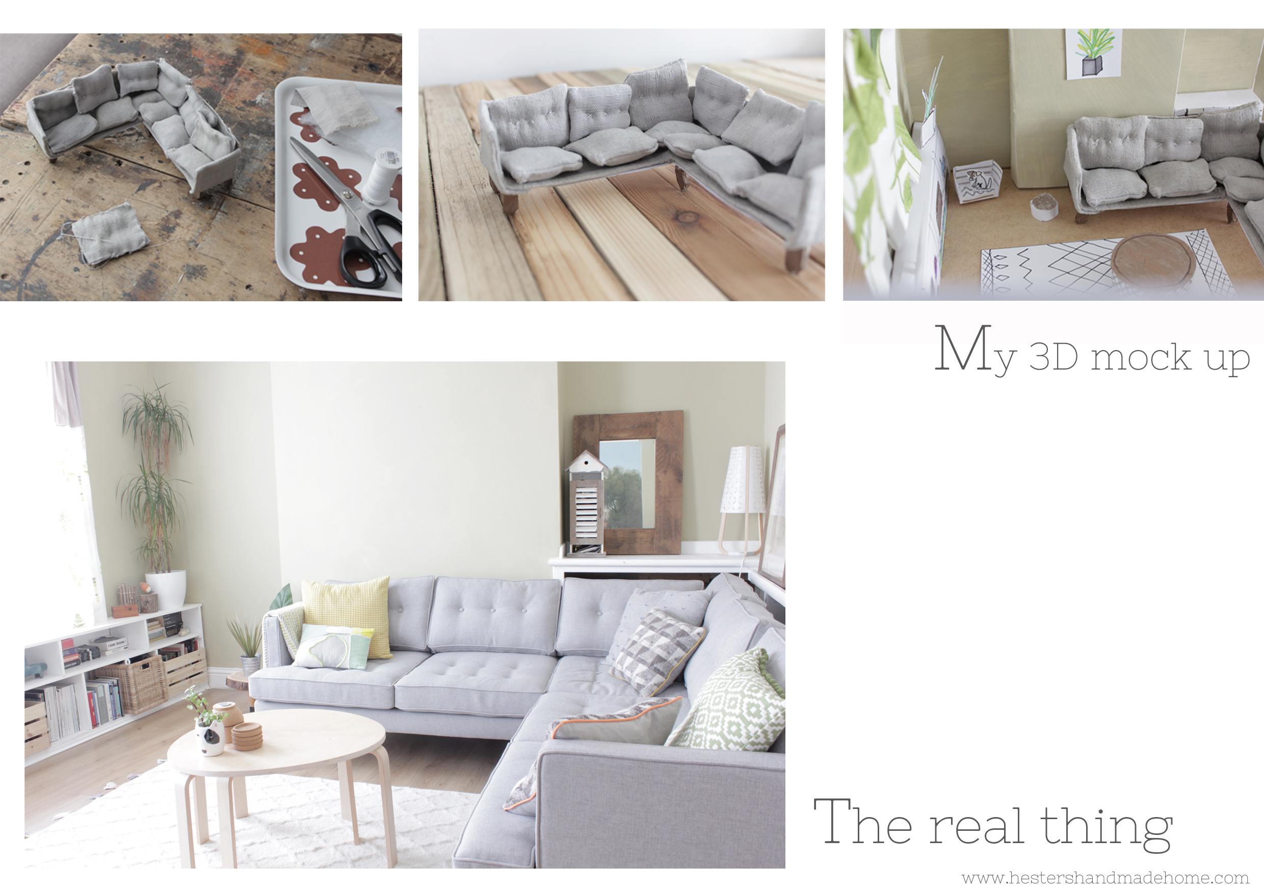 from 3d mock up to the real thing, my dream West Elm Sofa by Hesters handmade home