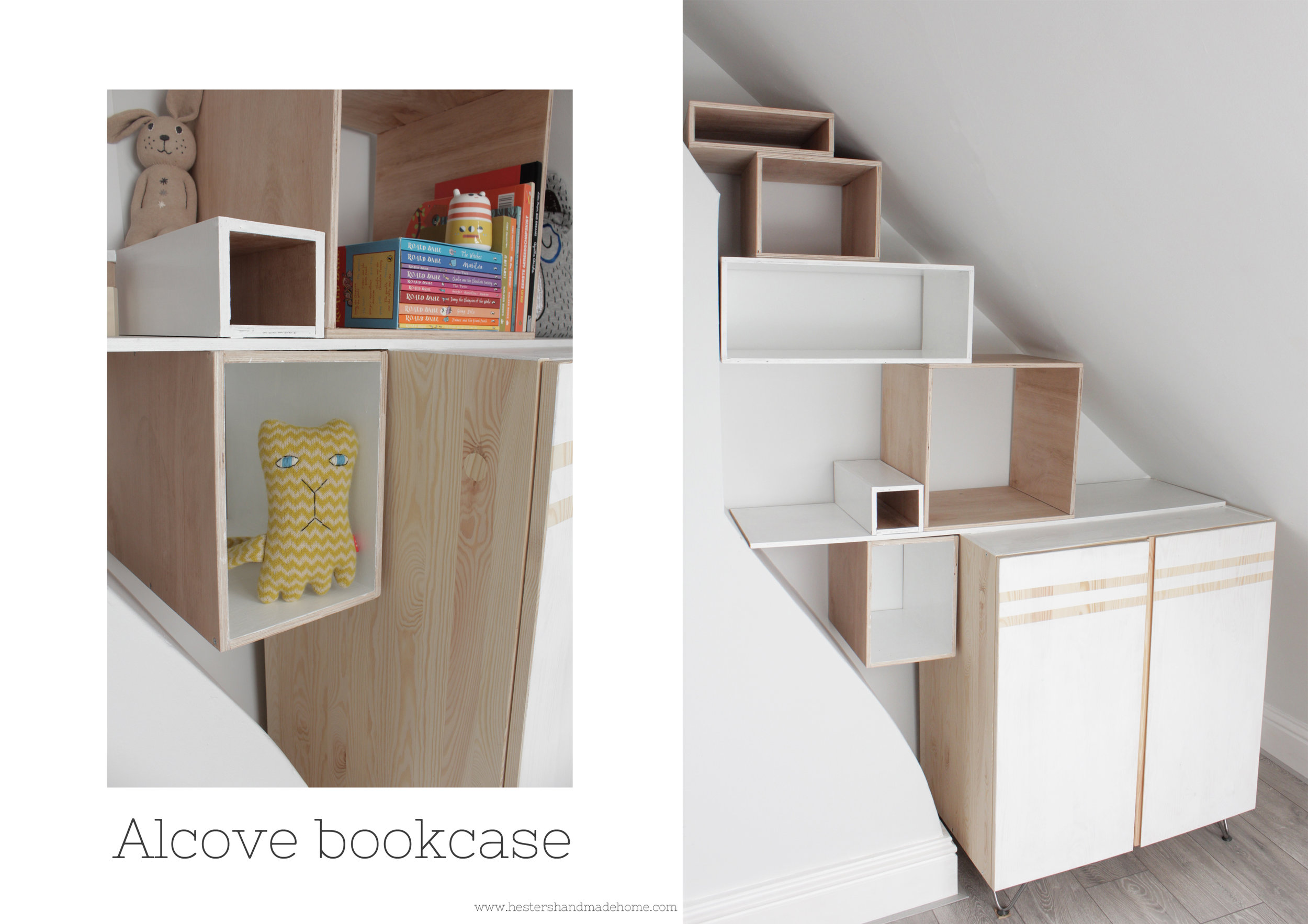 Modular bookcase build in a weird shaped nook by www.hestershandmadehome.com