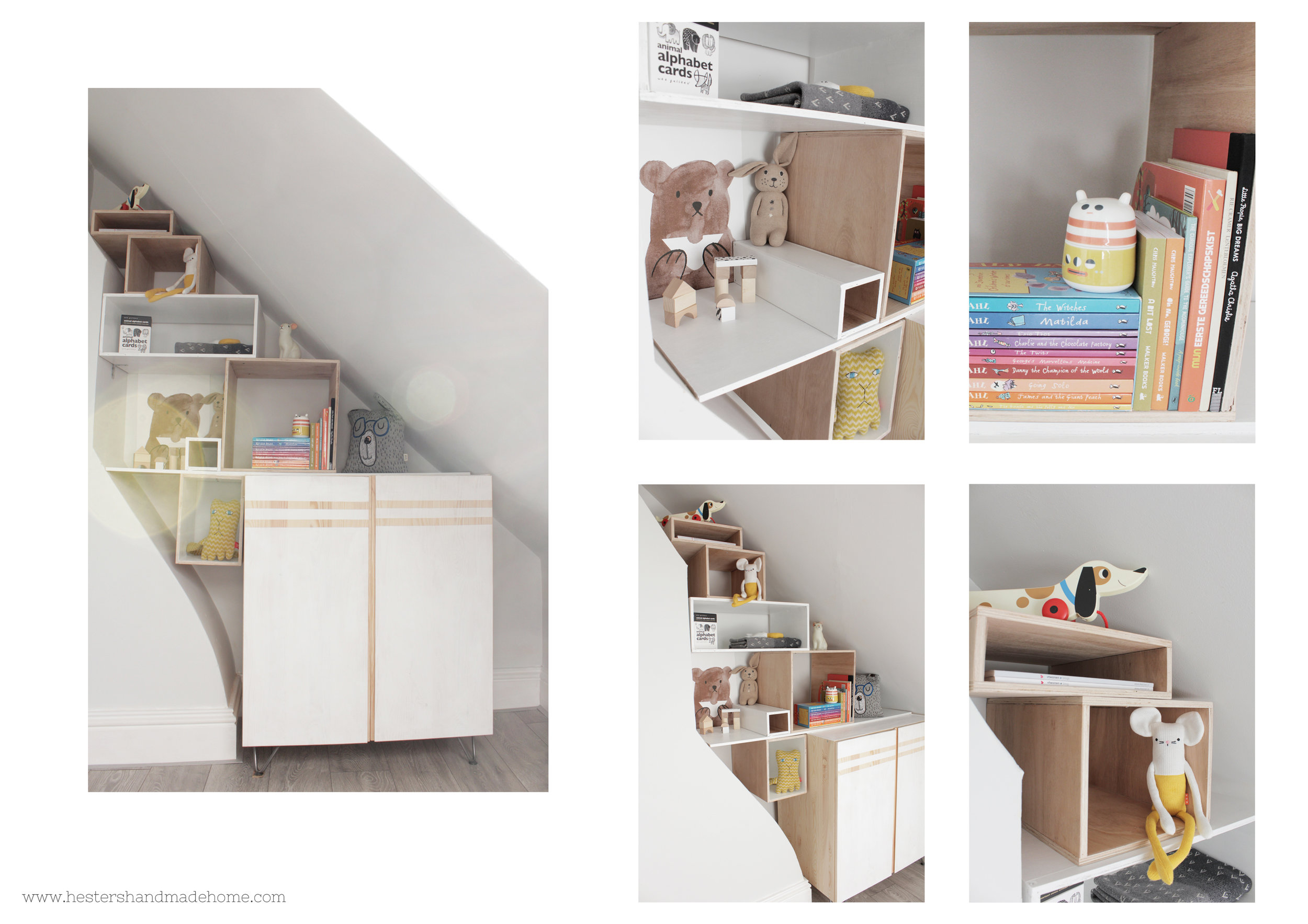 Alcove bookcase by www.hestershandmadehome.com