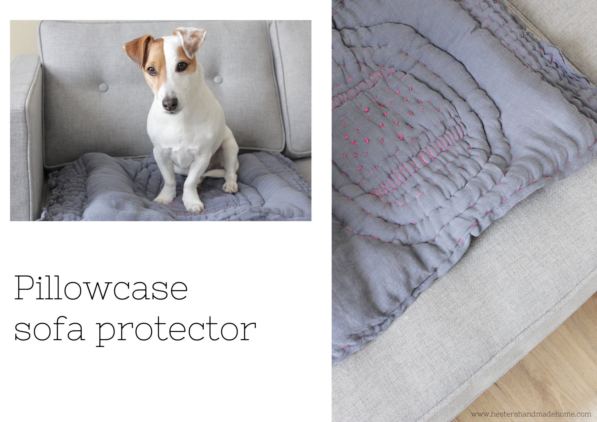 Protect your sofa from dog hair, made from a pillowcase, super easy tutorial by www.hestershandmadehome.com