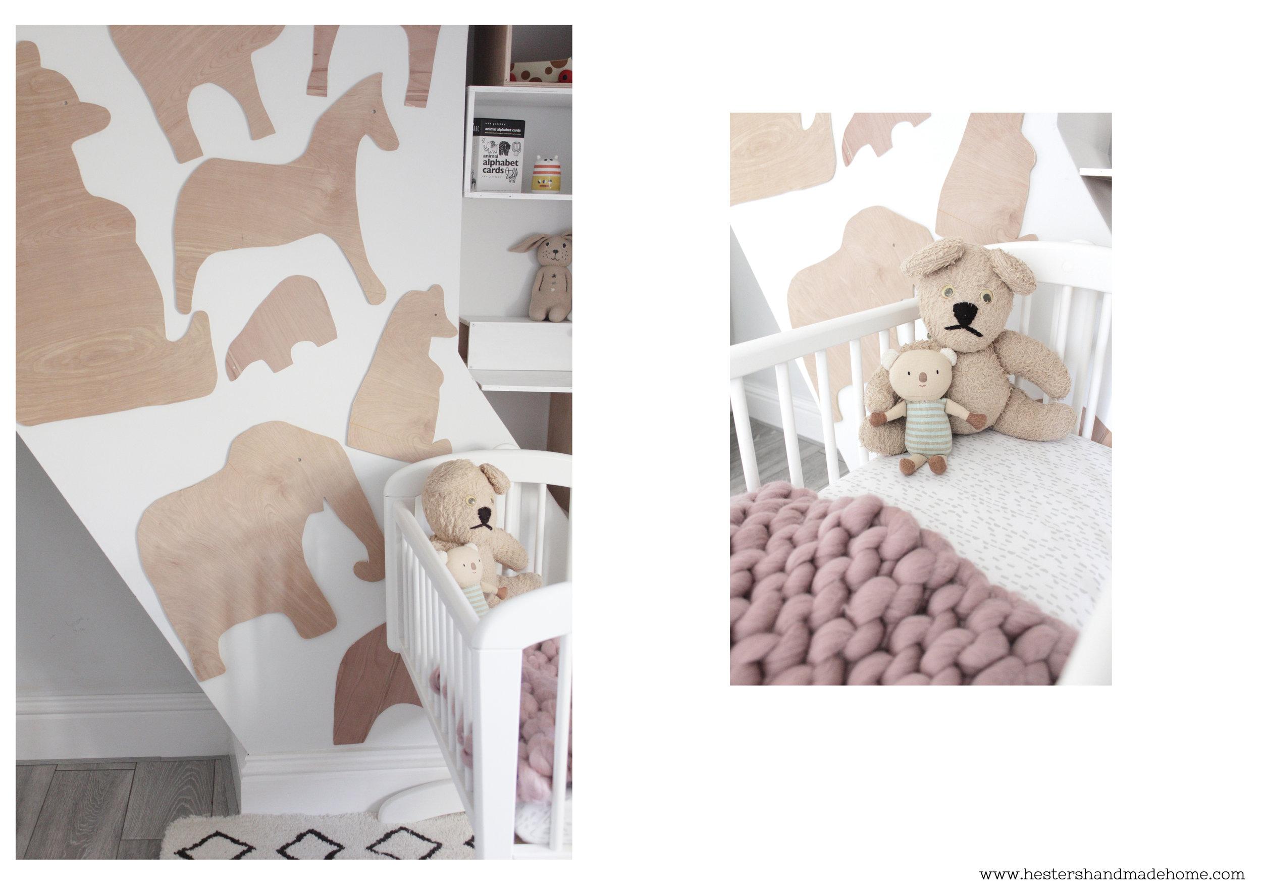 Nursery reveal, plywood animal wall decoration www.hestershandmadehome.com