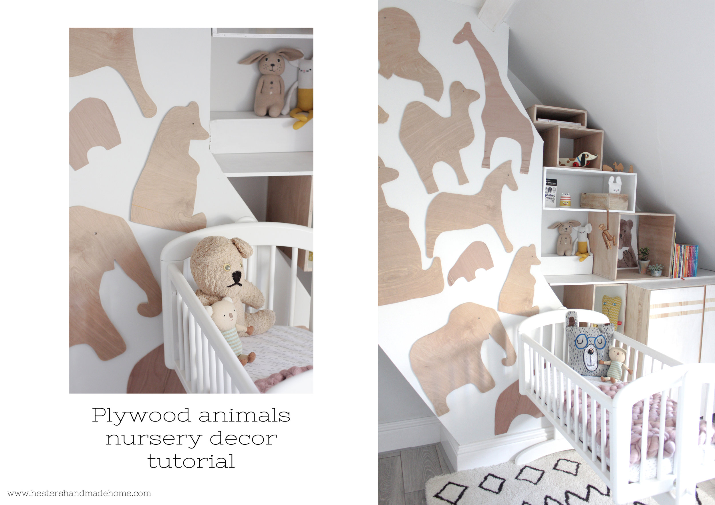 Nursery decor, plywood animal wall. Tutorial by www.hestershandmadehome.com