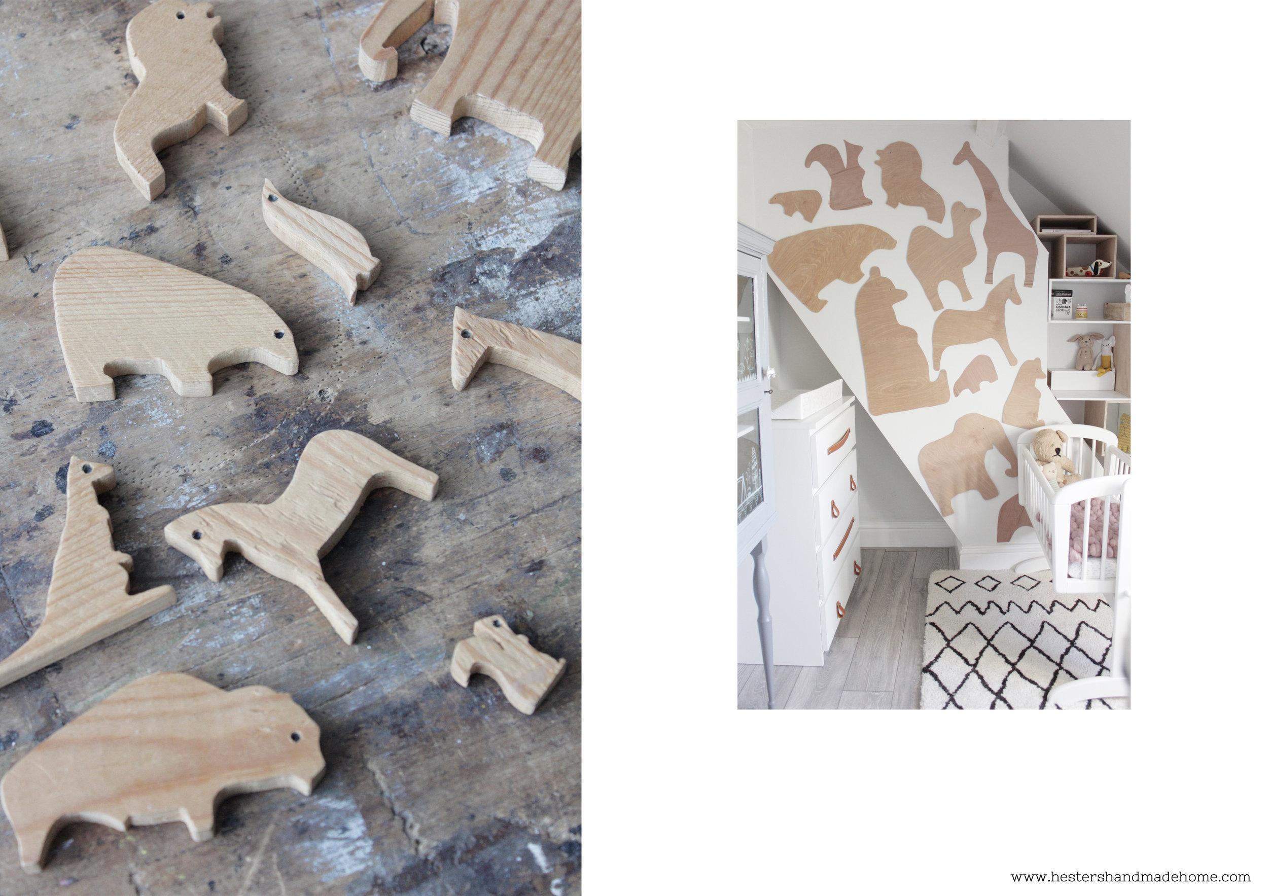 Nursery decor: plywood animal wall by www,hestershandmadehome.com