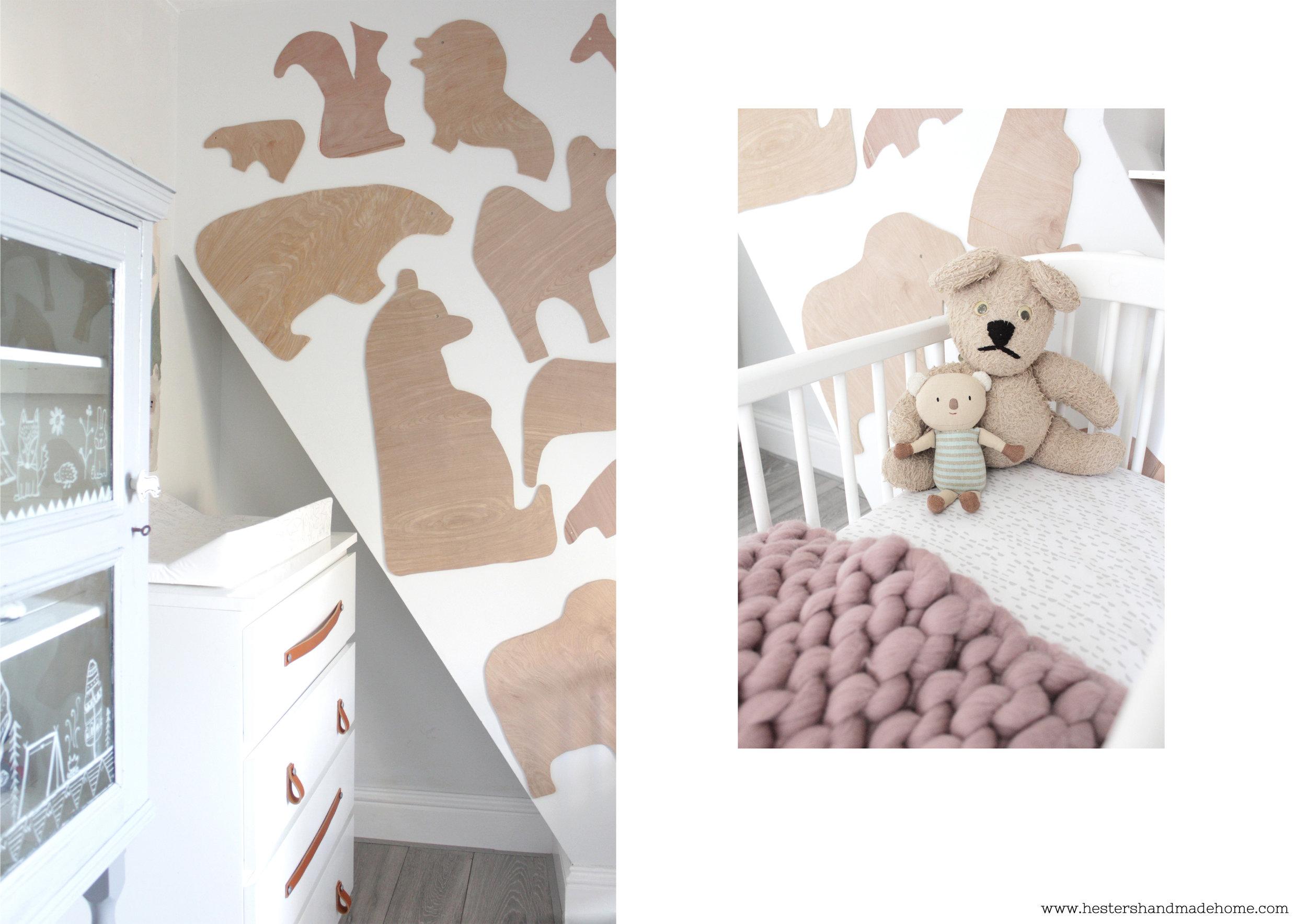 Nursery decor, plywood accent wall tutorial by www.hestershandmadehome.com