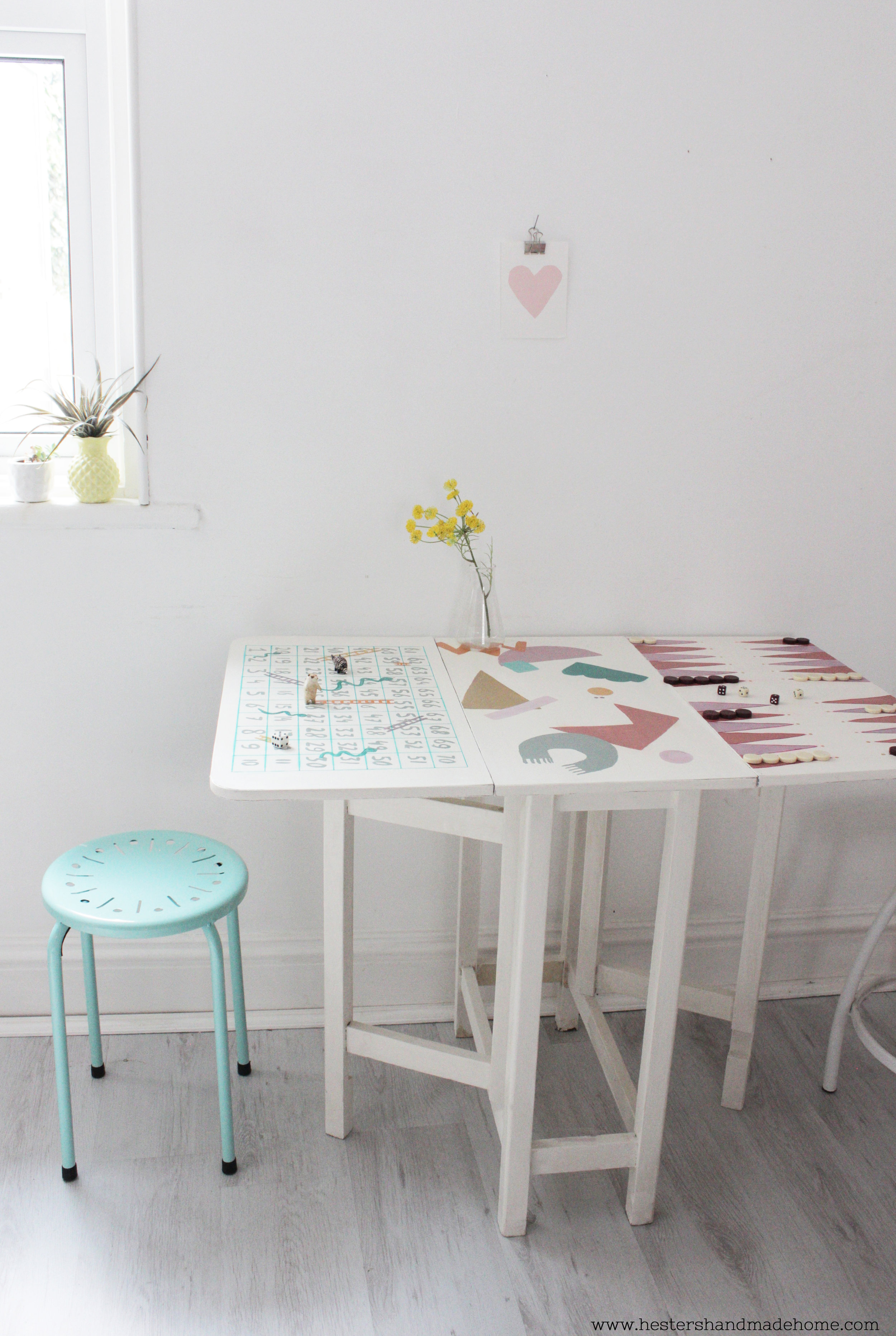 Games table by www.hestershandmadehome.com