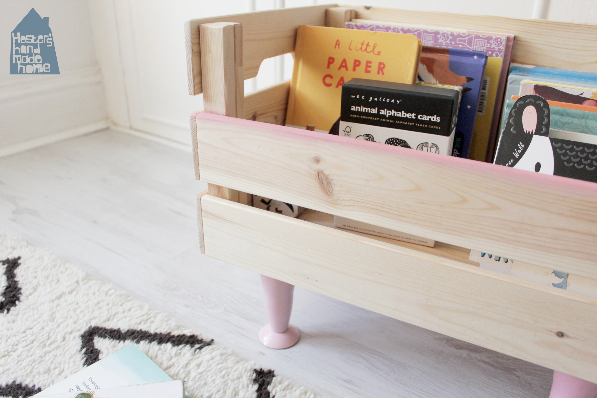 Ikea hack Knagglig box to book storage for a toddler by www.hestershandmadehome.com