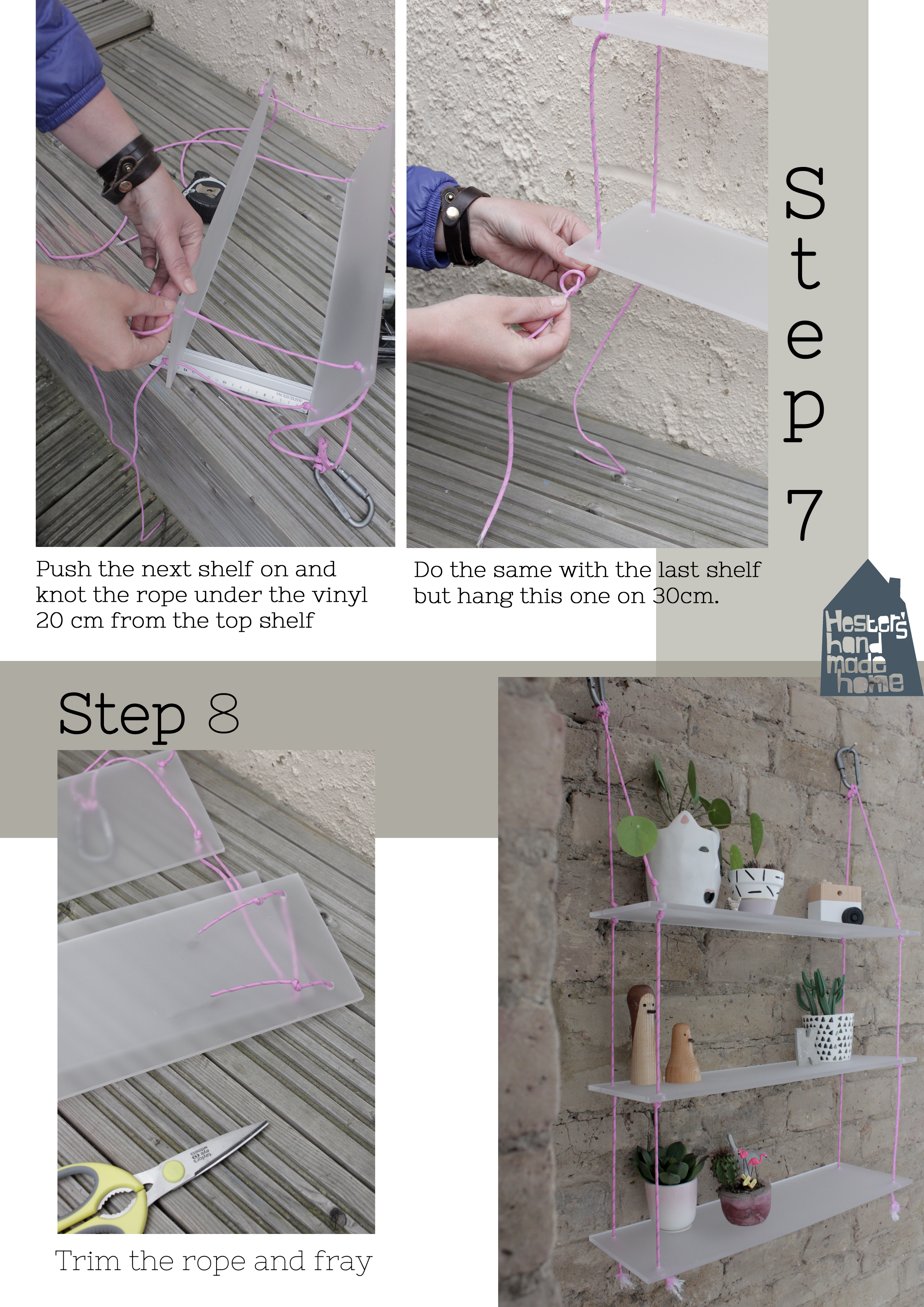 How to make an acrylic sheet rope shelf part 3 by hester's handmade home
