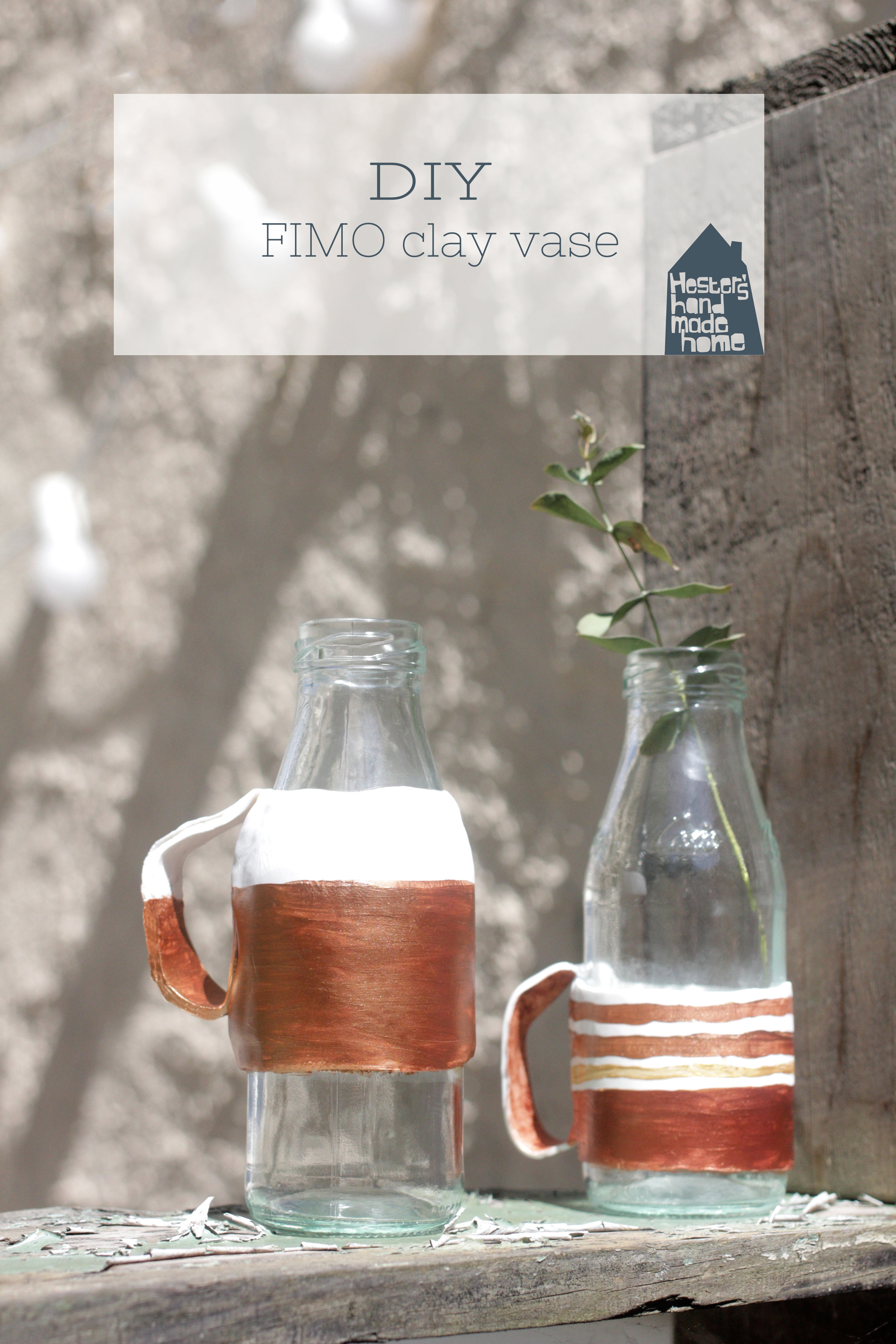FIMO clay bottle to vase hack by www.hestershandmadehome.com