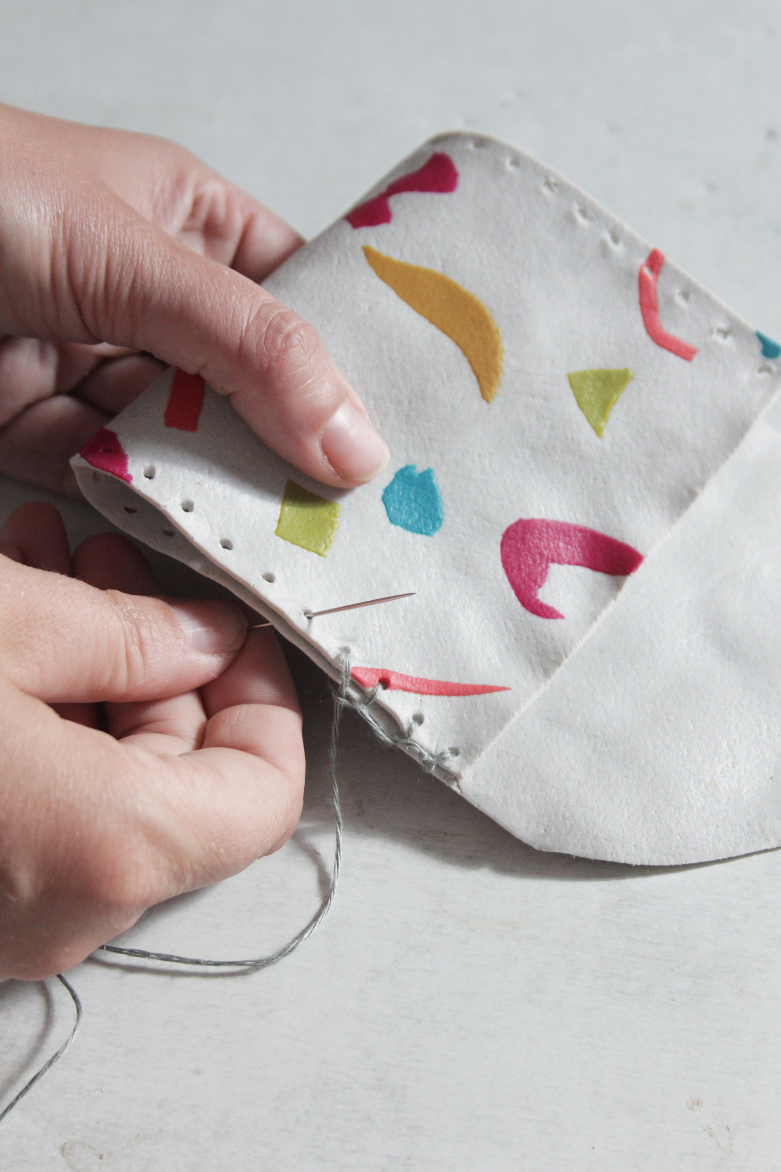 FIMO leather effect coin pouch by Hester Handmade Home step 14