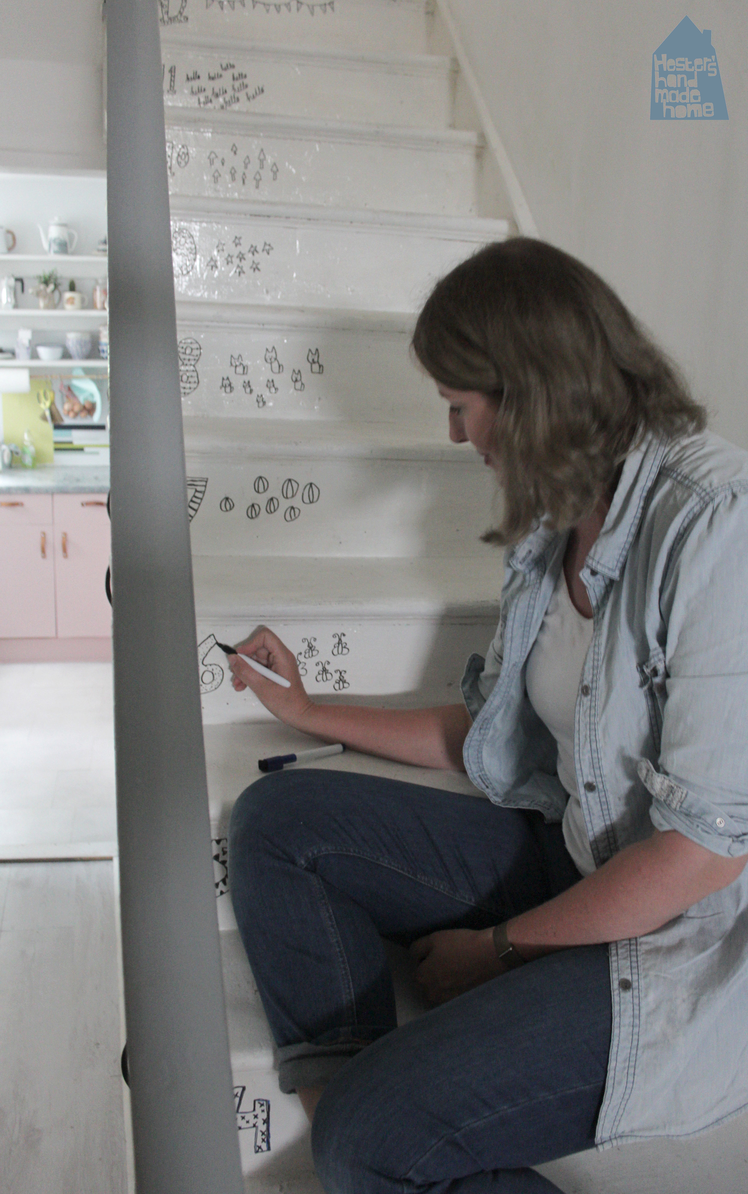 Doodle stairs by www.hestershandmadehome.com