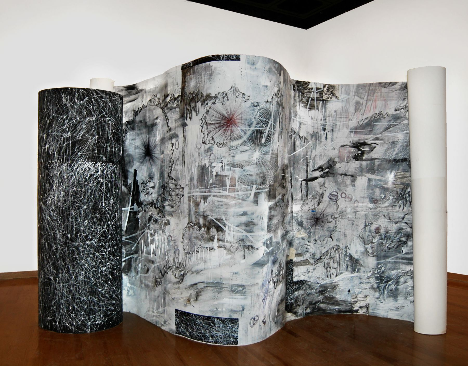AMY SCHISSEL, Double Standard. Painting, acrylic, oil, gesso, graphite, ink on paper | 42x9 ft