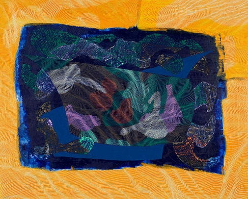 Kizi Spielmann Rose,  Sun and a Tide Pool ,2017. Acrylic, oil pastel and oil stick on panel, 24 x 30 inches