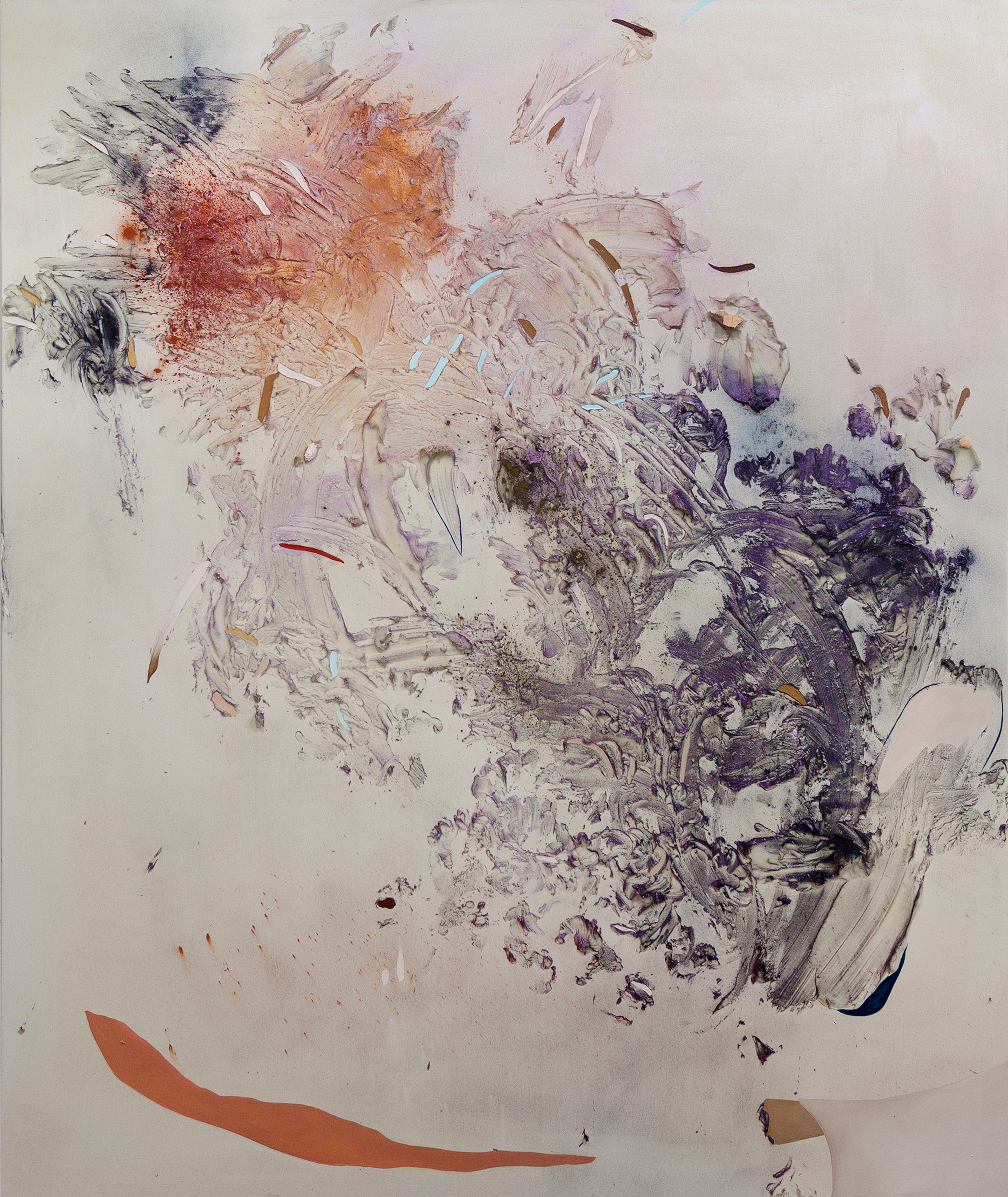 Gillian King,  Pyroclast. Cold wax medium, oil and raw pigments on canvas, 72x60 inches. 2016