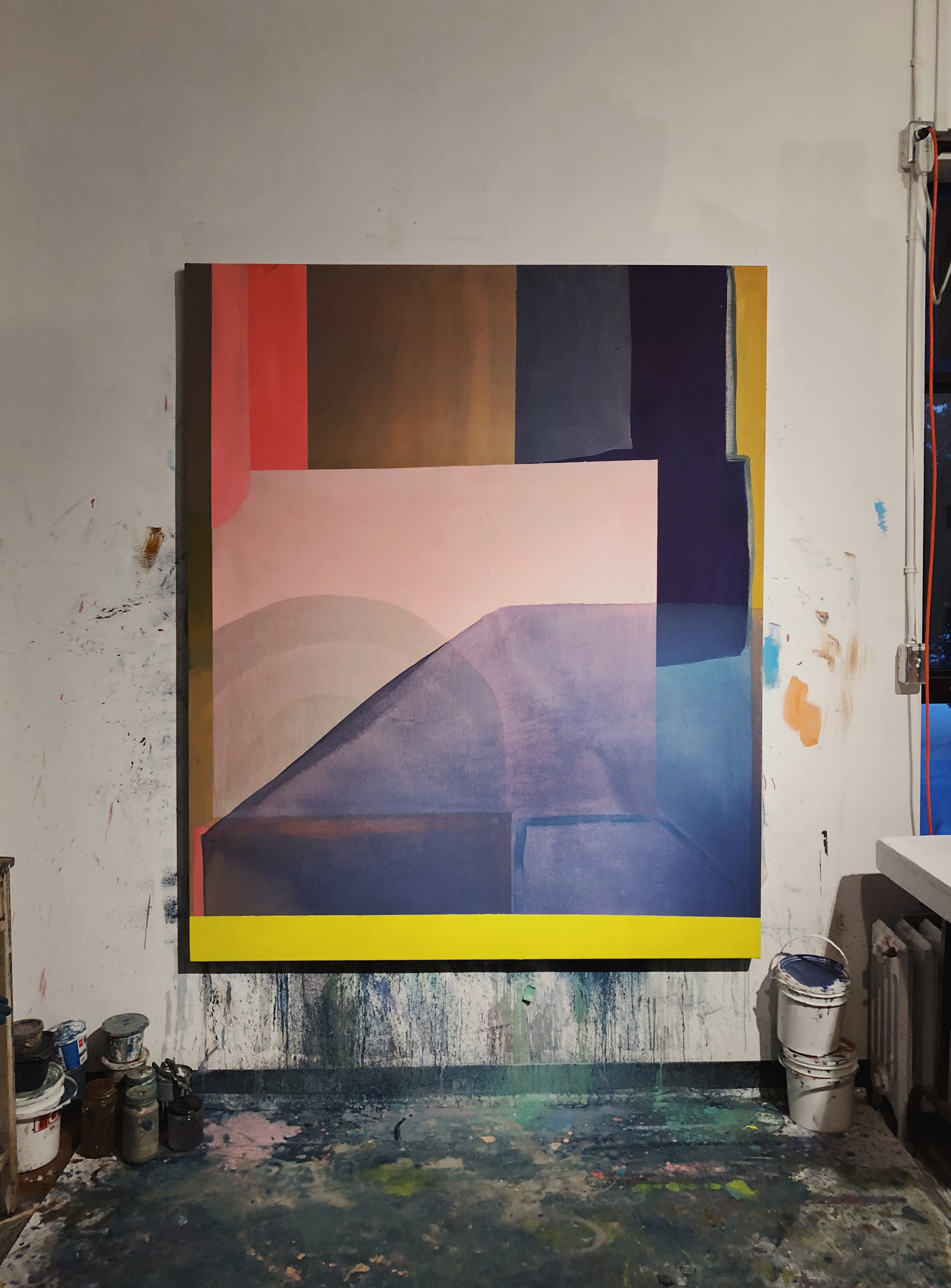 Emma Carney, studio view, oil on canvas