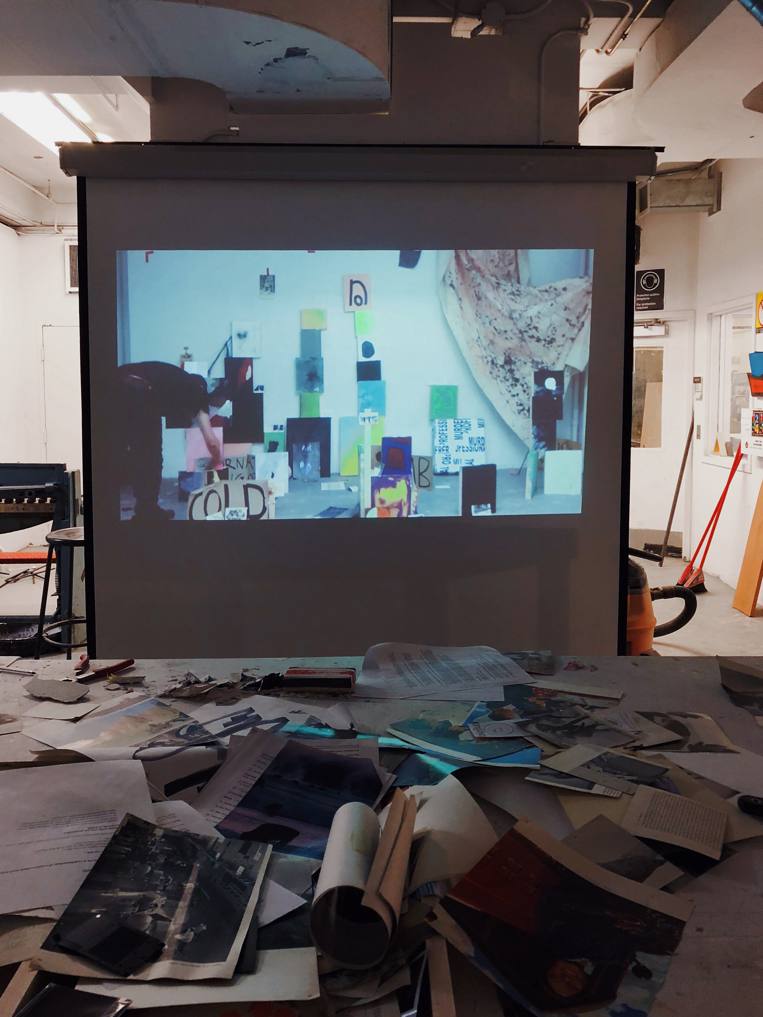 Pierre Richardson,  Planck Lengths Personified by the Unruly Order (Tap Dancing on Utopia),   installation of painting on panel, textile and print media (projection of assembly)