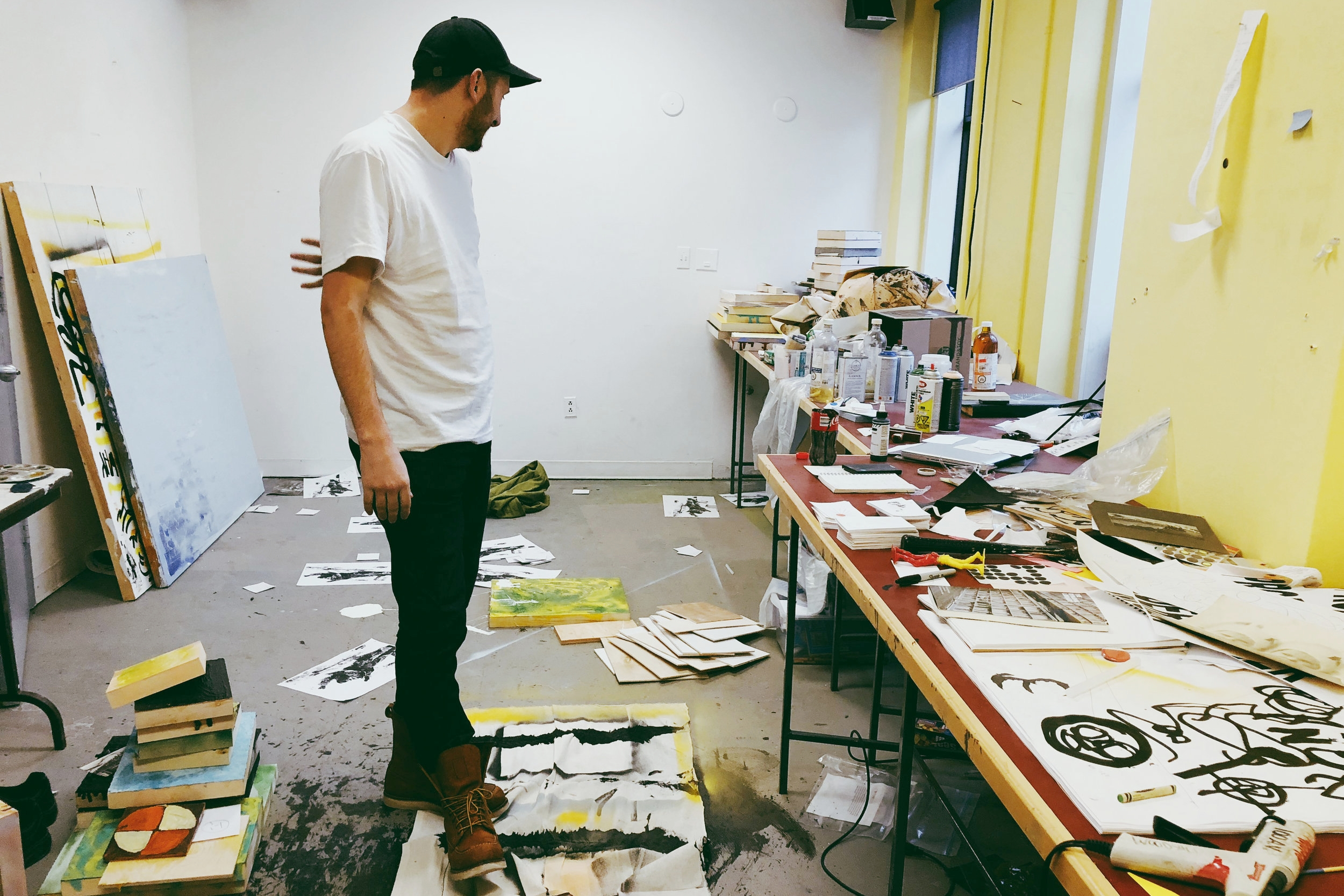 Richardson, a multimedia artist, surveys his works before starting a new term.