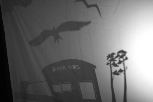 A scene from the shadow puppet show we created with the BAMA Kids on our first trip in March 2012.