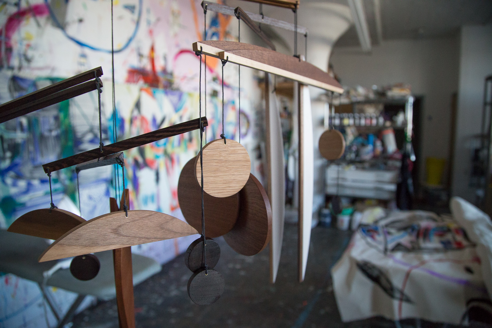 Mobiles hang in the Fort Makers Studio