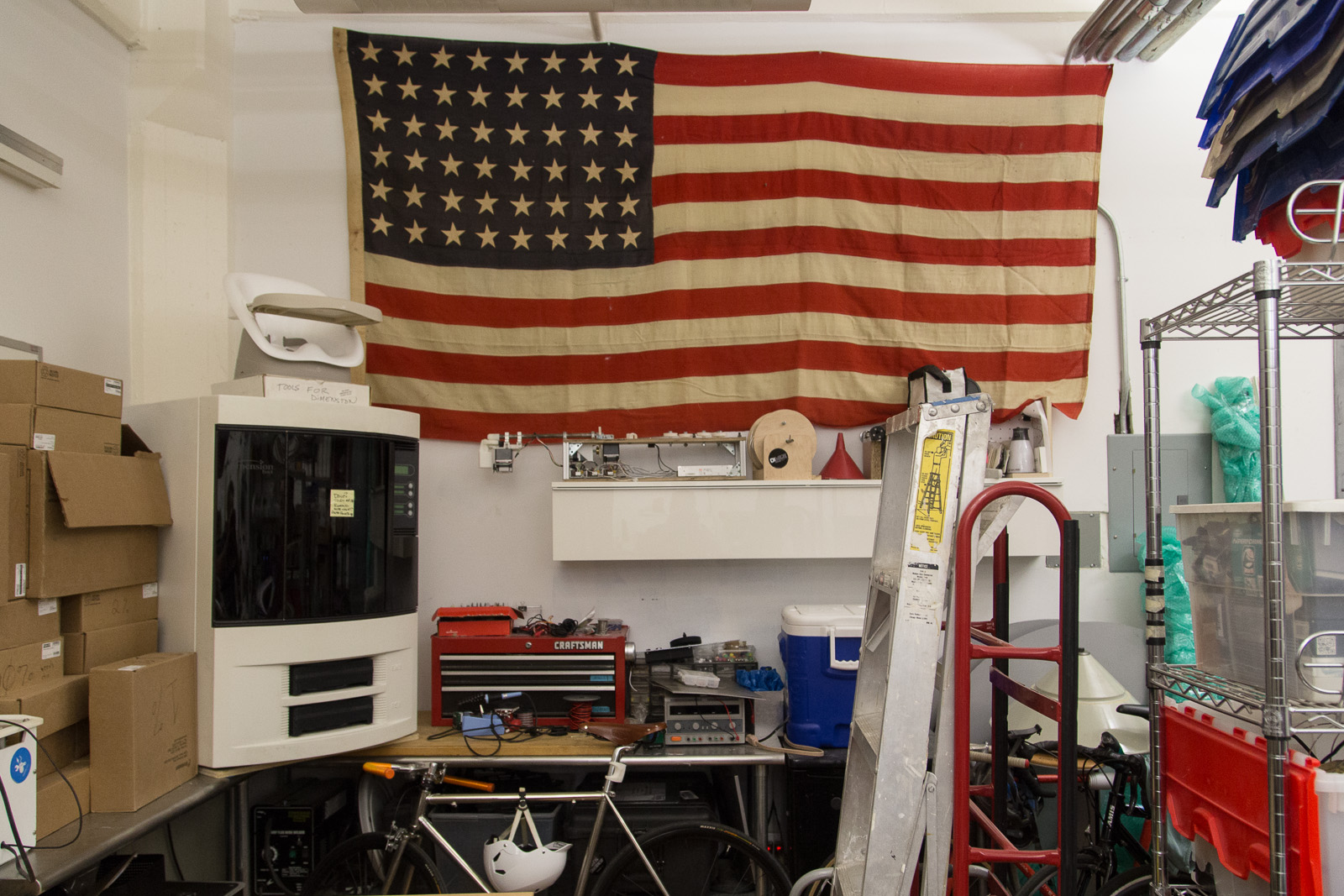 3D Printer and Old Glory.